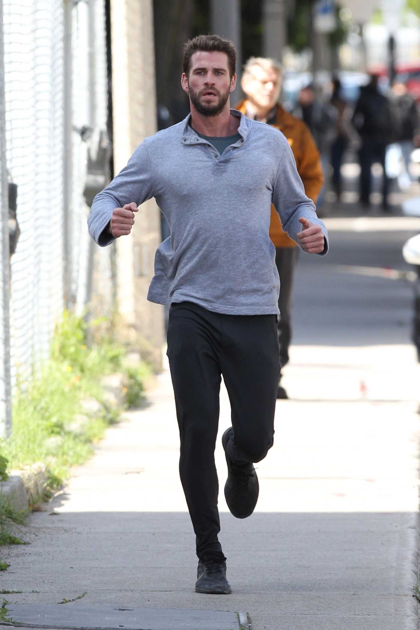 Liam Hemsworth in a Black Pants on the Set of Dodge and Miles in Toronto 10/05/2019