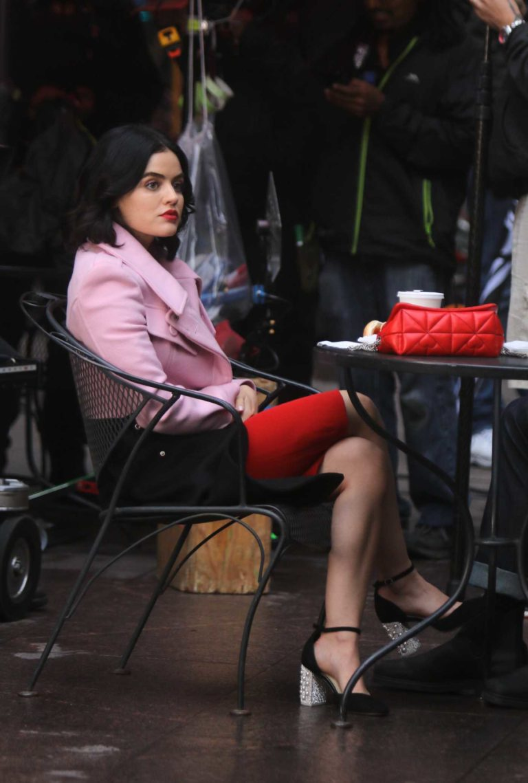 Lucy Hale in a Pink Jacket