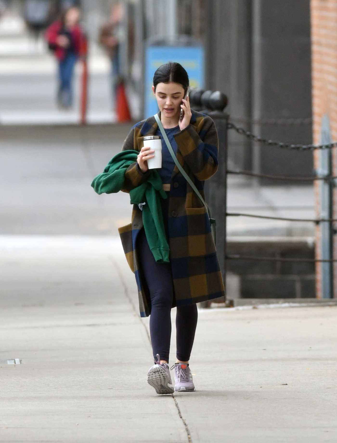 Lucy Hale in a Plaid Coat Leaves a Gym in NY 10/06/2019