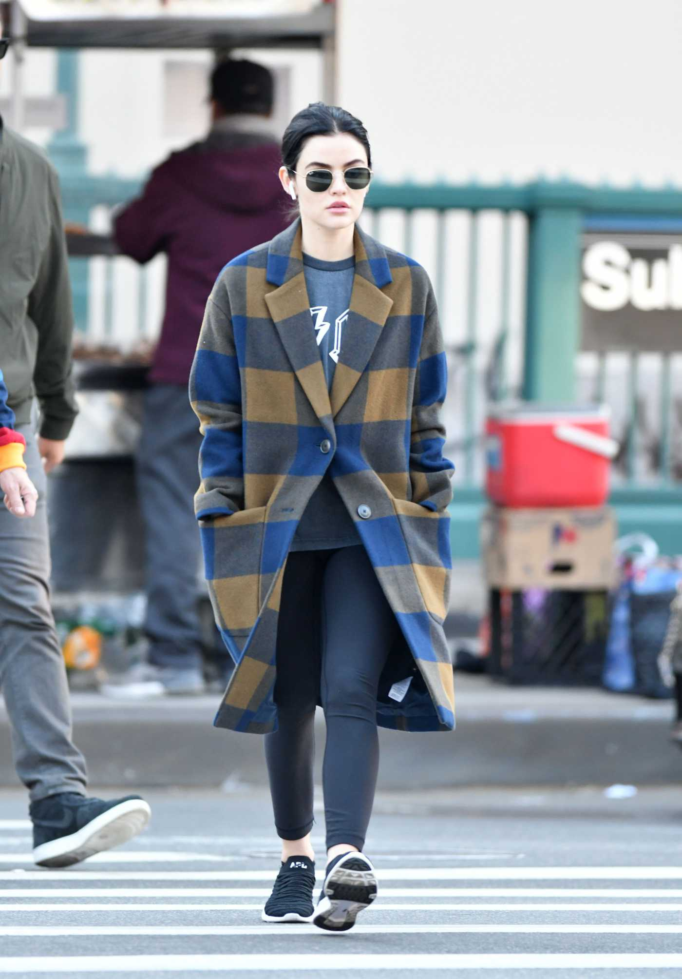 Lucy Hale in a Plaid Coat Was Seen Out in NY 10/16/2019