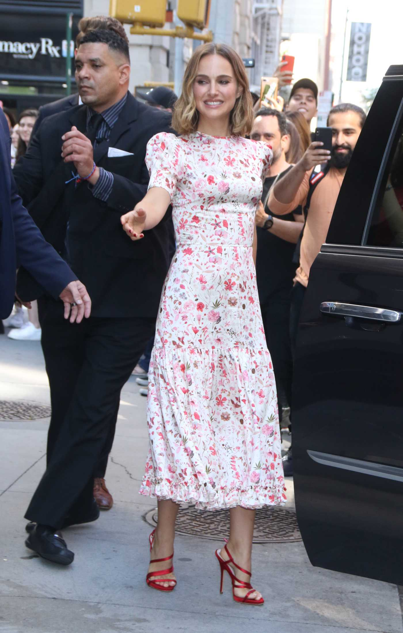 Natalie Portman in a Floral Dress Arrives at AOL Build Speaker Series in New York City 10/02/2019