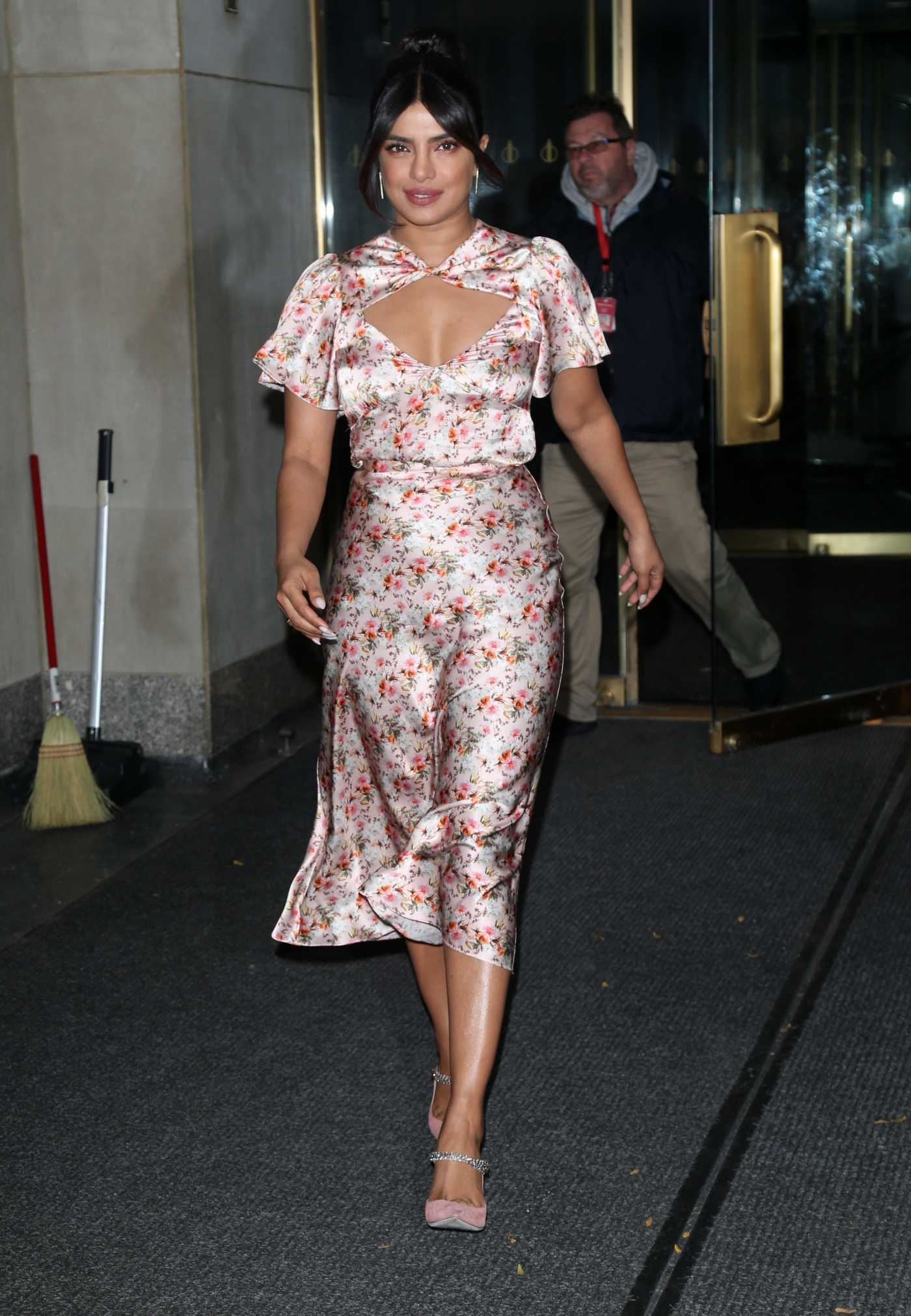 Priyanka Chopra in a Floral Dress Arrives at the Today Show in New York 10/08/2019