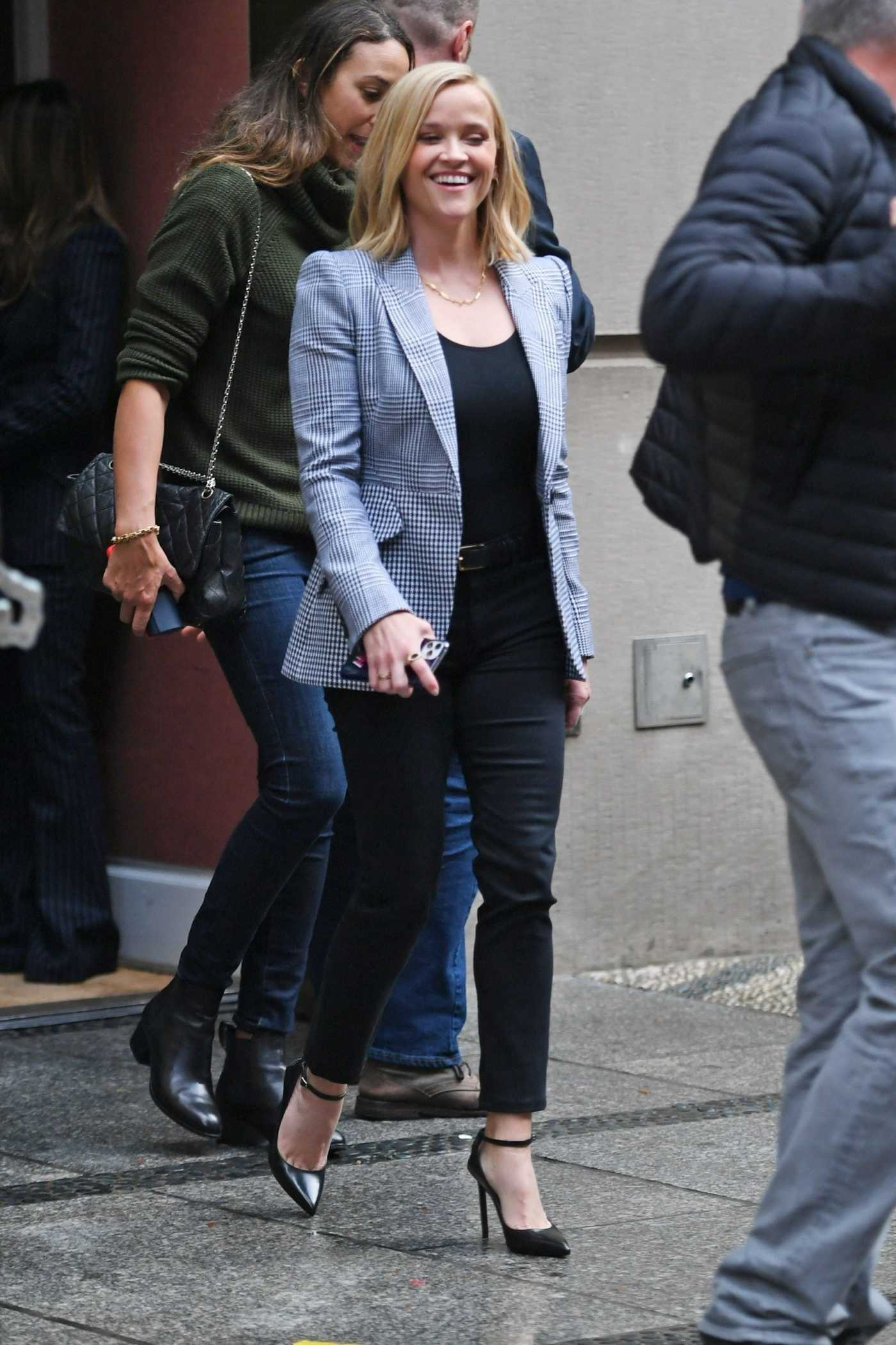 Reese Witherspoon in a Gray Blazer Leaves The Morning Show in Soho, NY 10/27/2019