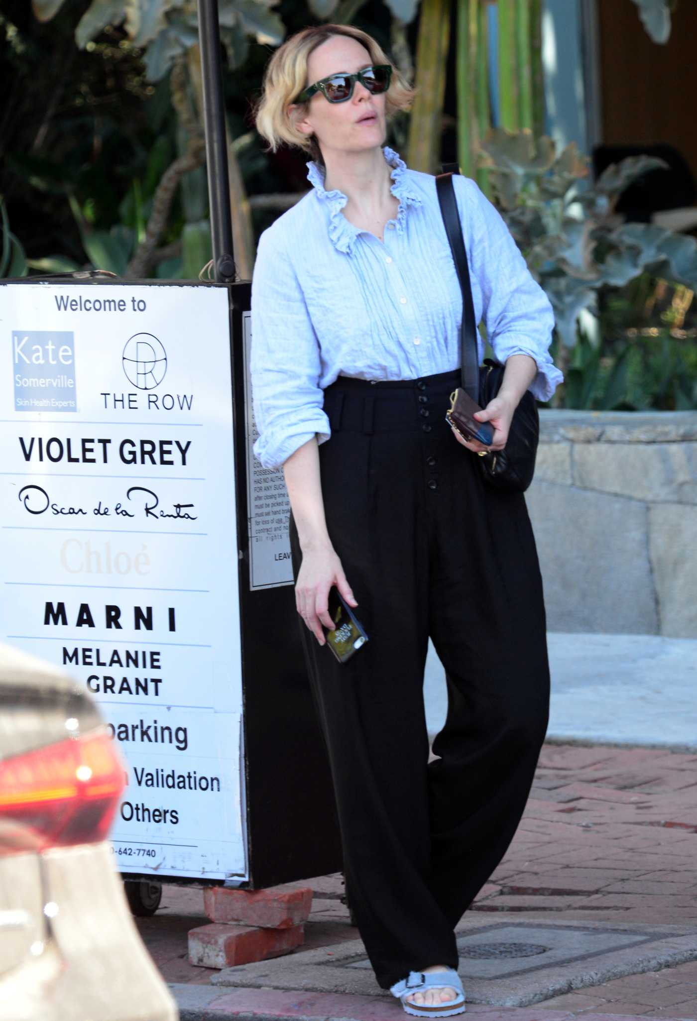Sarah Paulson in a Blue Blouse Was Spotted Out in West Hollywood 10/08/2019