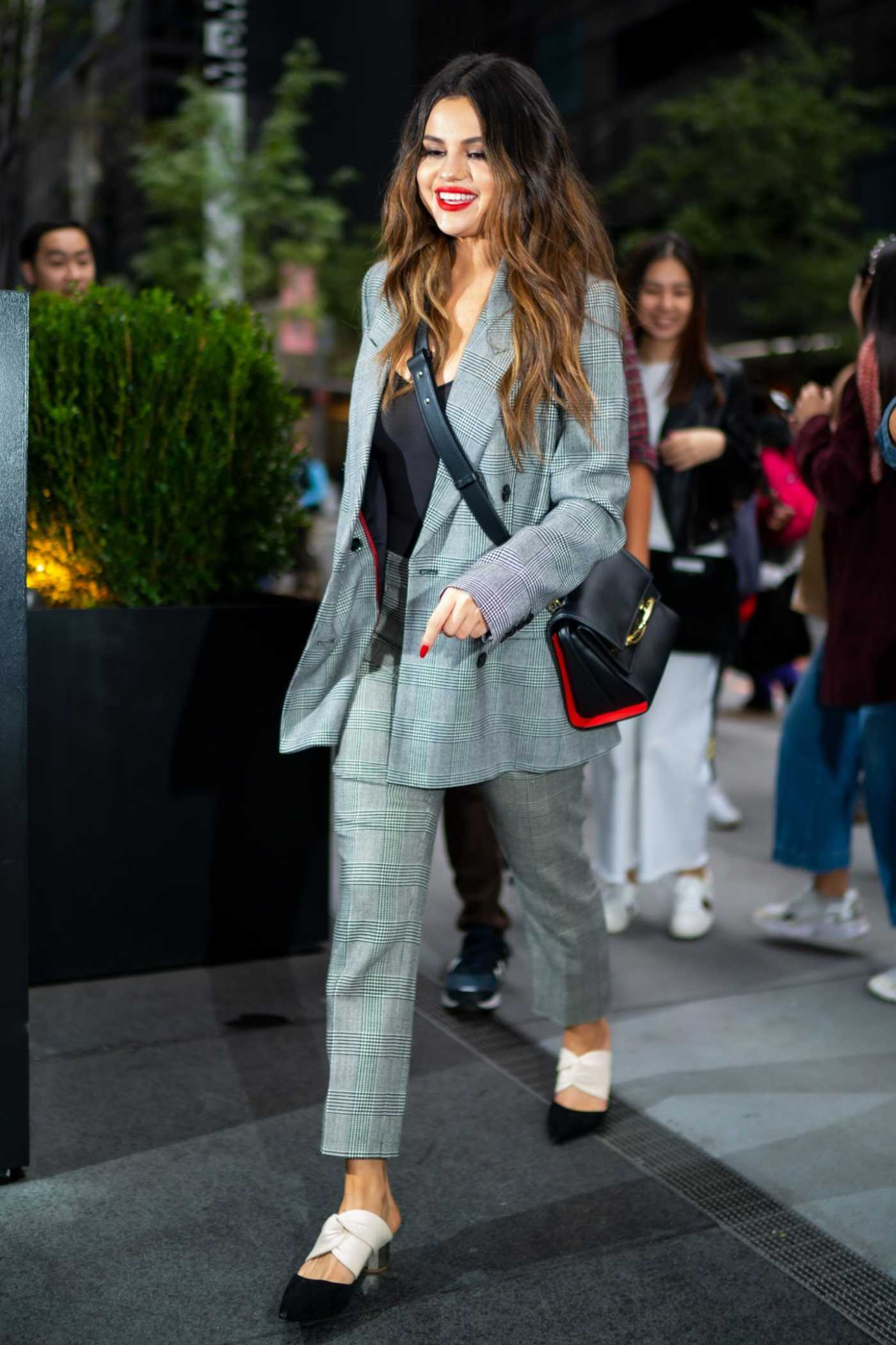 Selena Gomez in a Gray Suit Arrives at Her Hotel in NY 10/28/2019
