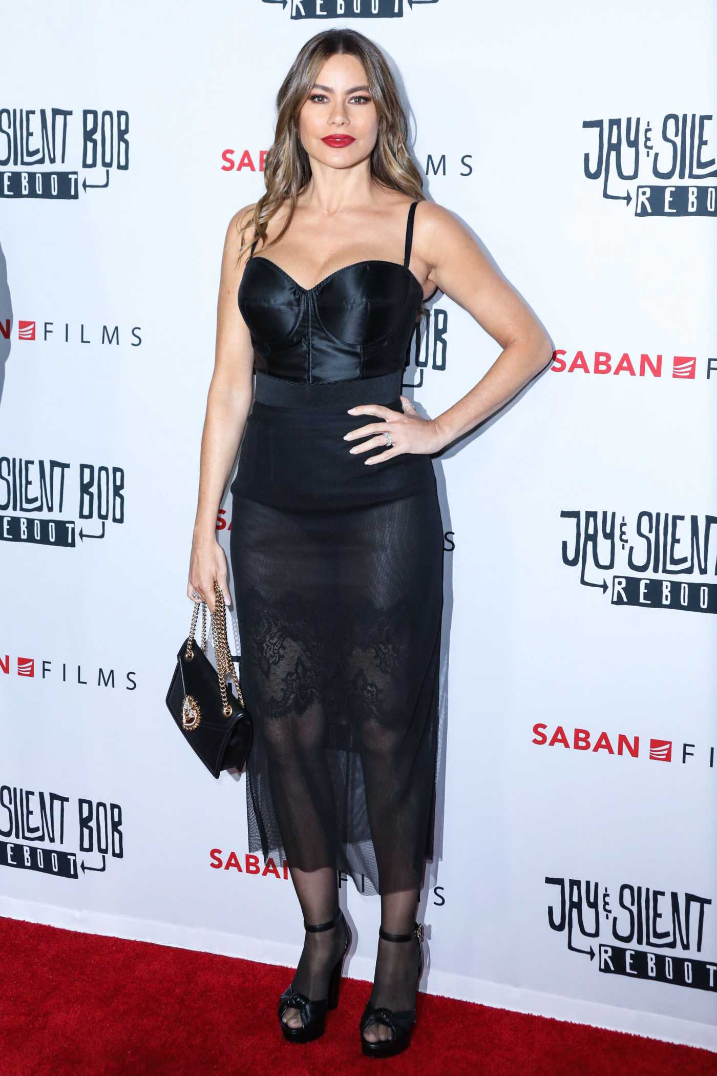Sofia Vergara in a Black Dress Attends the Jay and Silent Bob Reboot Premiere at TCL Chinese Theatre in Hollywood 10/14/2019