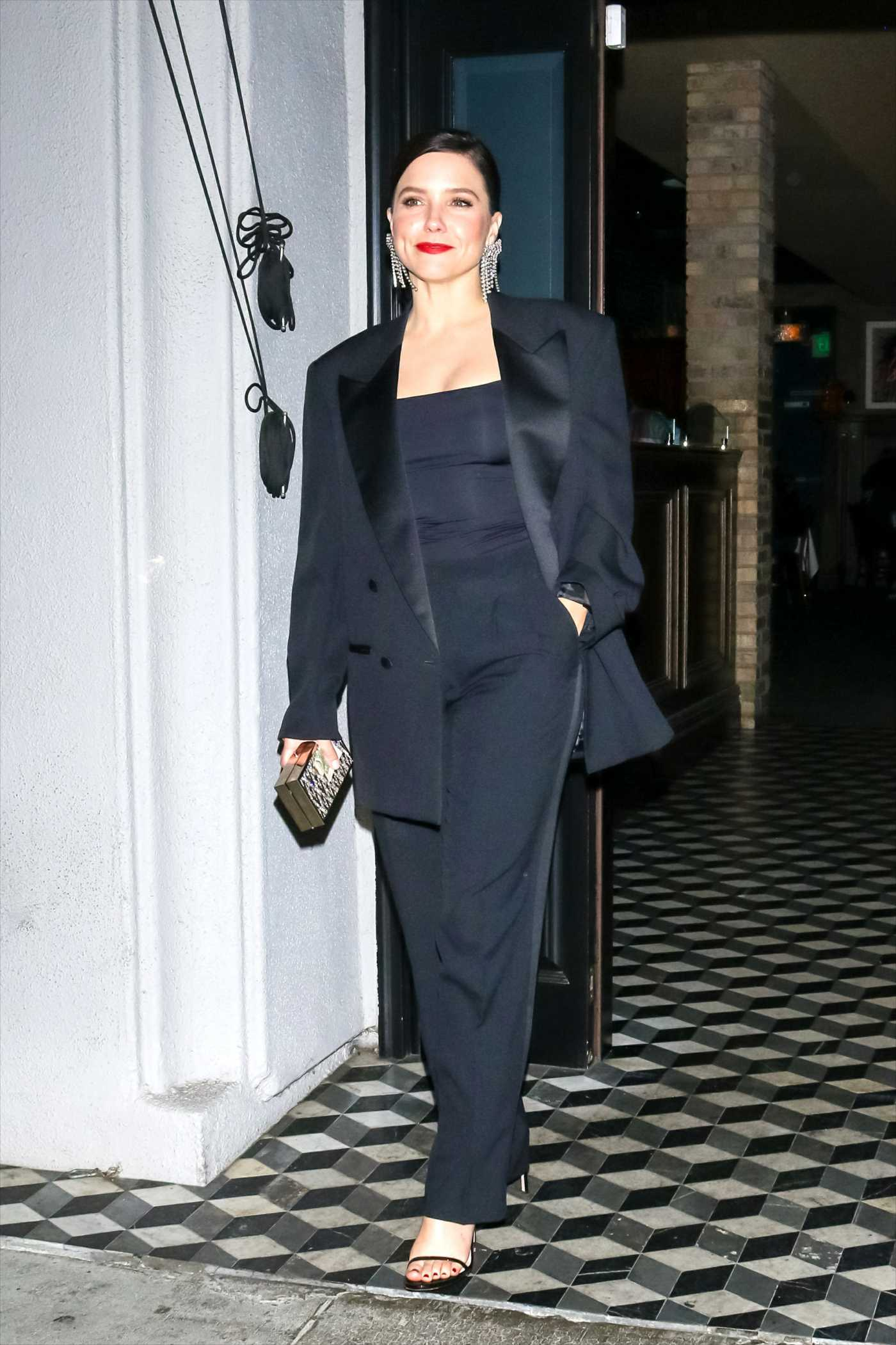 Sophia Bush in a Black Blazer Leaves Craig's Restaurant in West Hollywood 10/13/2019