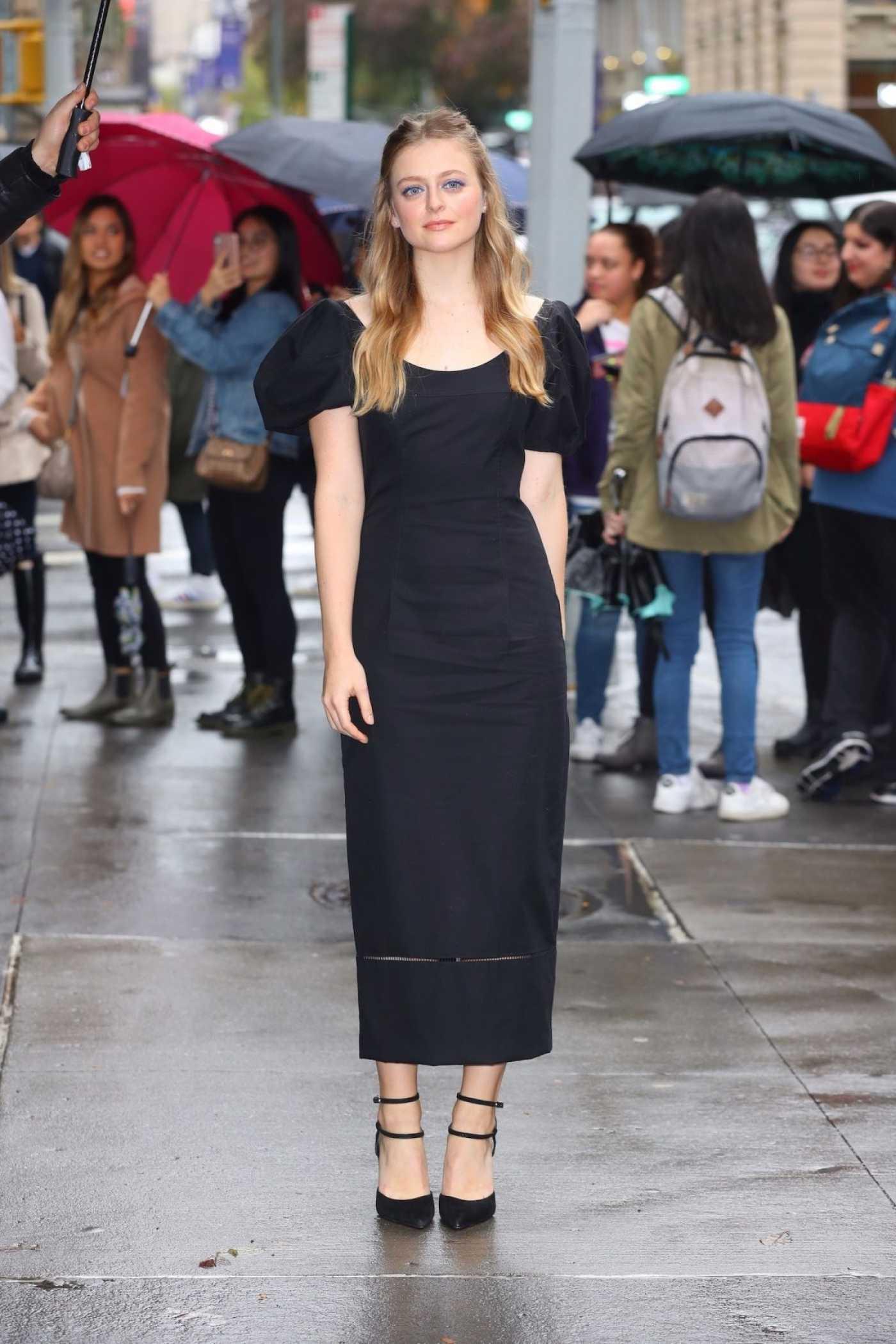 Anna Baryshnikov in a Black Dress Arrives at AOL Build Studio in New York 10/31/2019