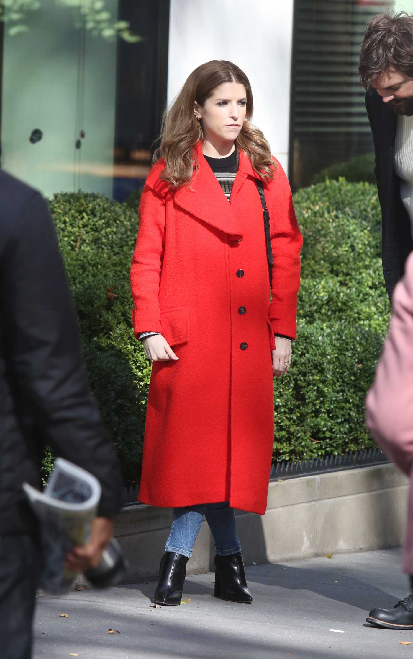 Anna Kendrick in a Red Coat on the Set of Love Life in New York 11/01/2019