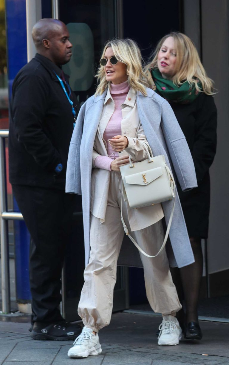 Ashley Roberts in a Gray Coat