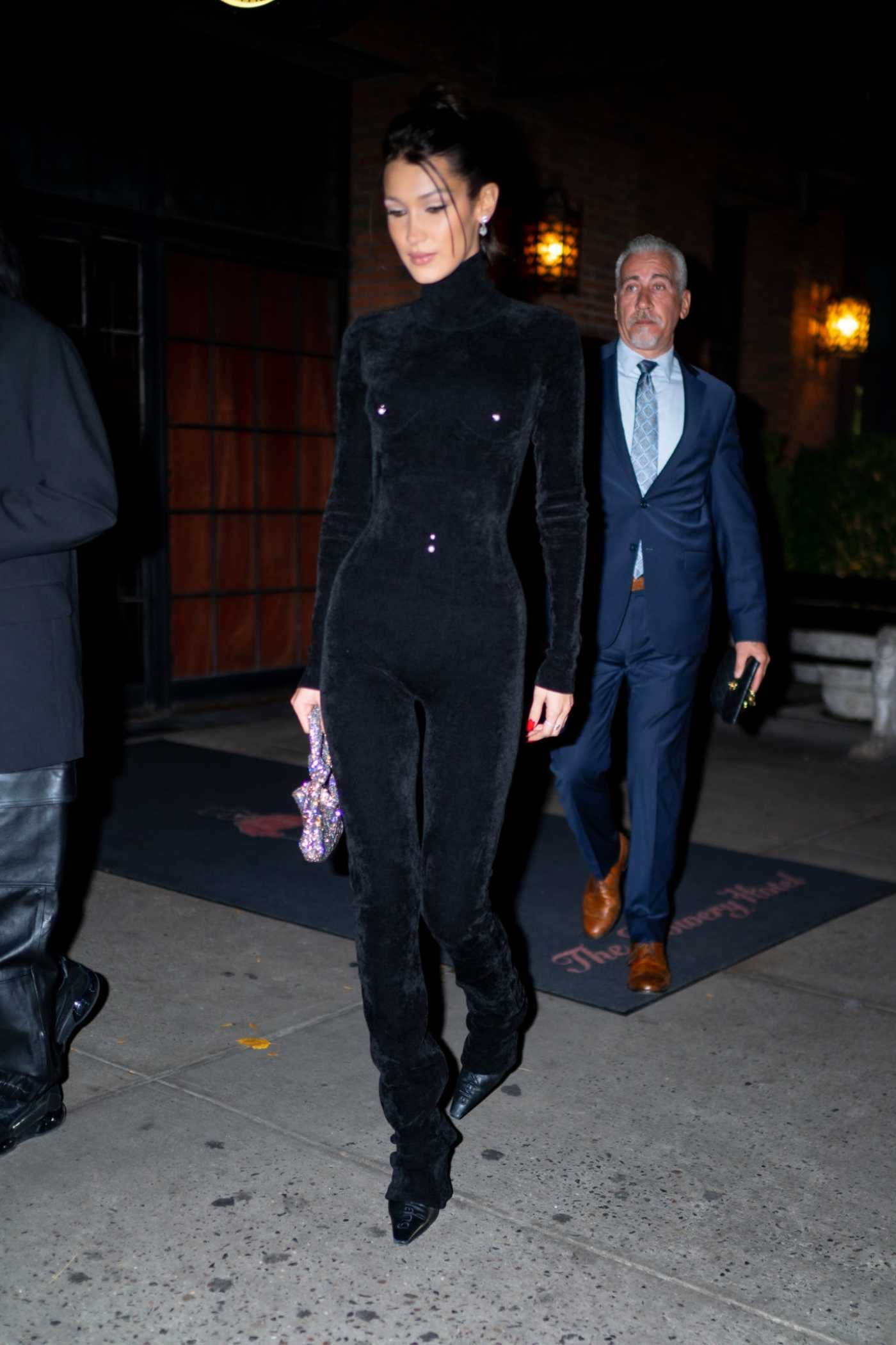 Bella Hadid in a Black Suit Leaves Cipriani's in New York City 11/04/2019
