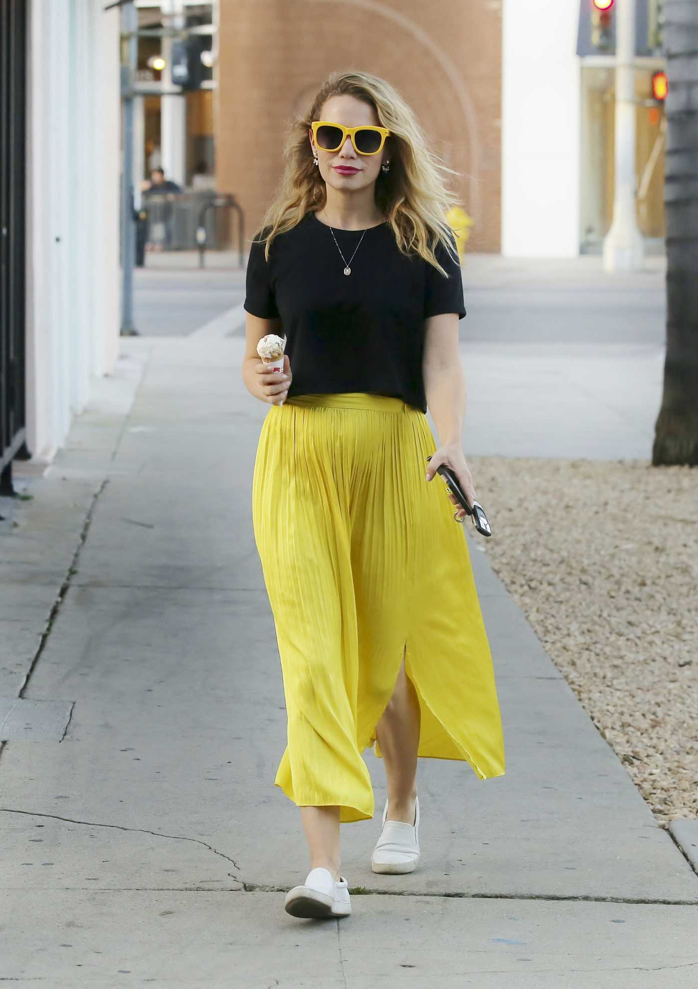Bethany Joy Lenz in a Yellow Skirt Was Seen Out in Los Angeles 11/22/2019