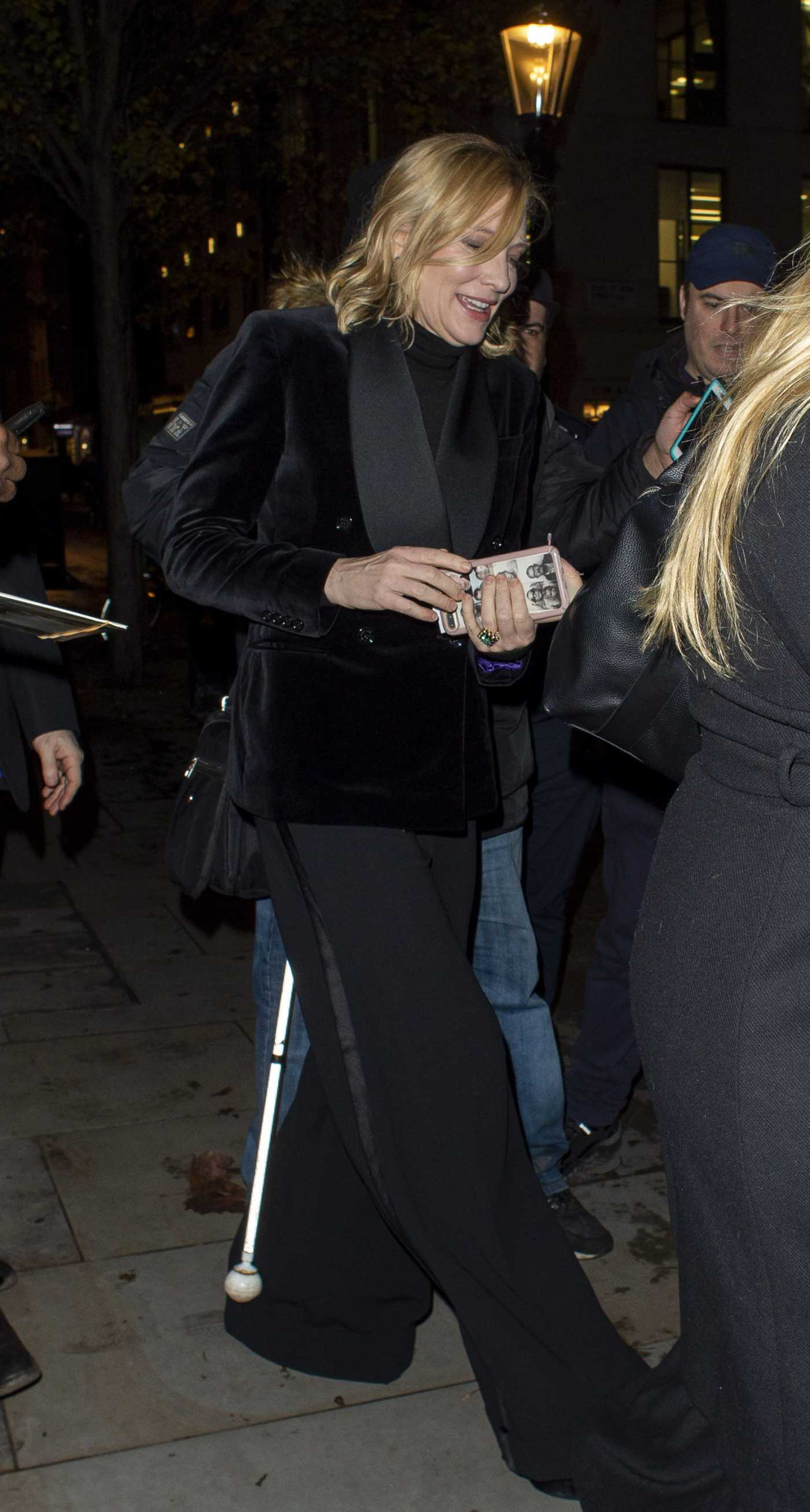 Cate Blanchett in a Black Blazer Leaves the Fayre of St James Christmas Carol Concert in London 11/26/2019