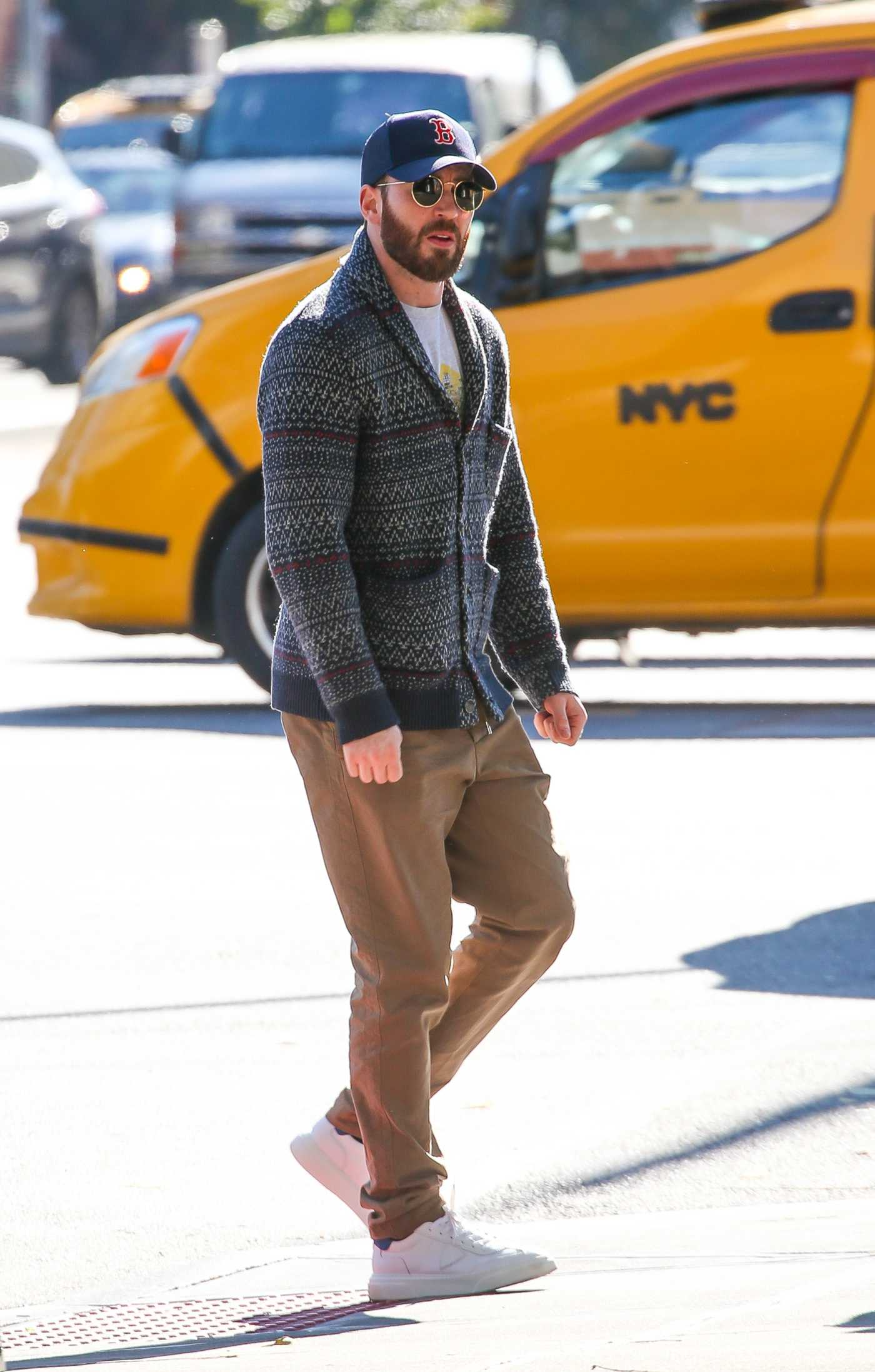 Chris Evans in a Beige Pants Was Seen Out in New York 11/04/2019