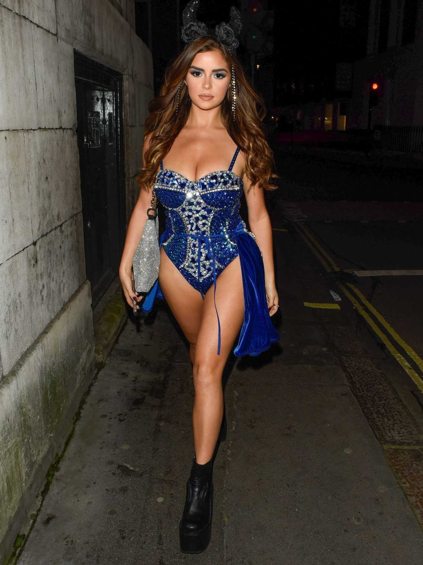 Demi Rose in a Blue Swimsuit Night Out in London 10/26/2019