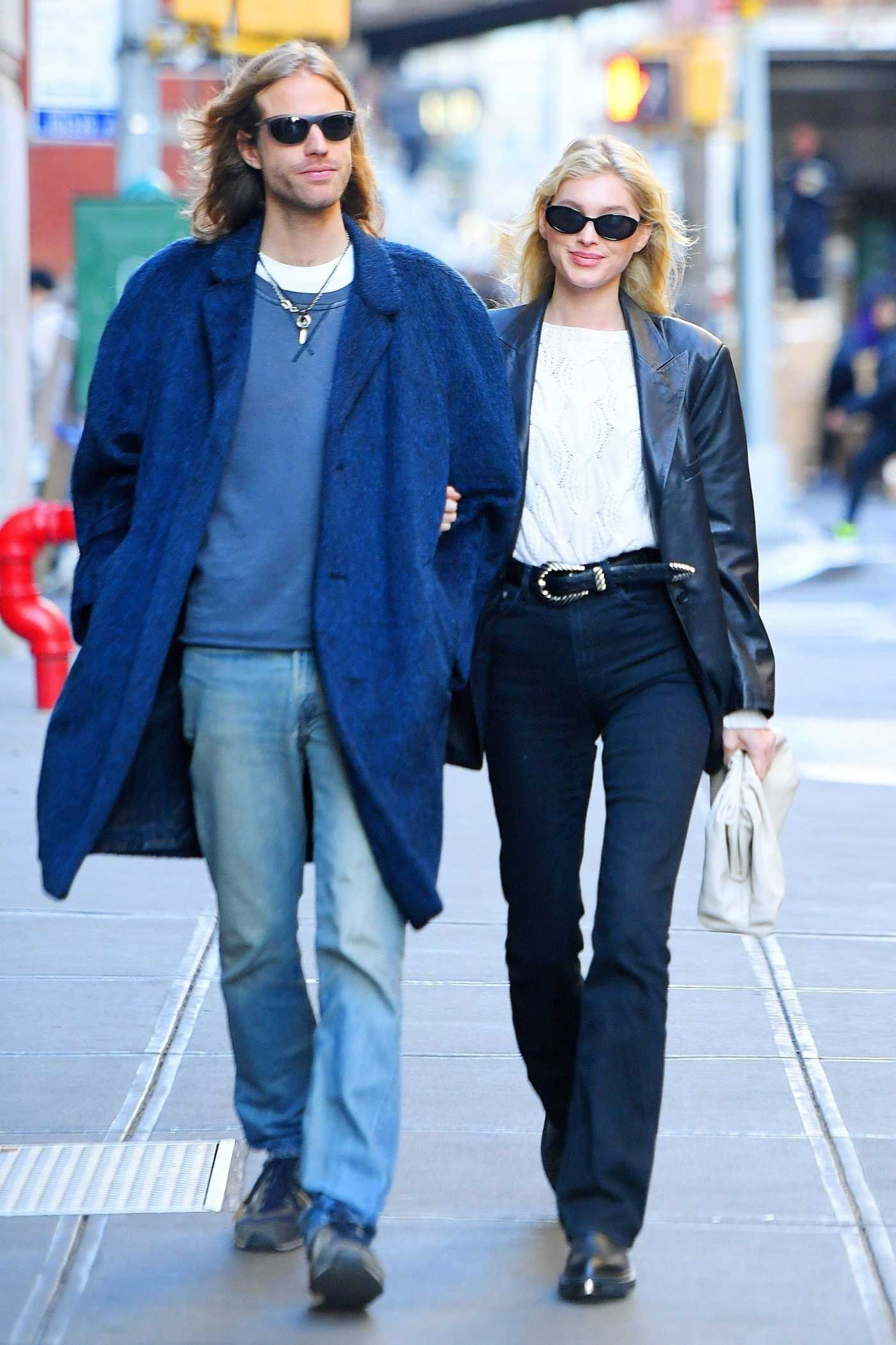 Elsa Hosk in a Black Leather Blazer Was Seen Out with Tom Daly in SoHo, NY 11/27/2019