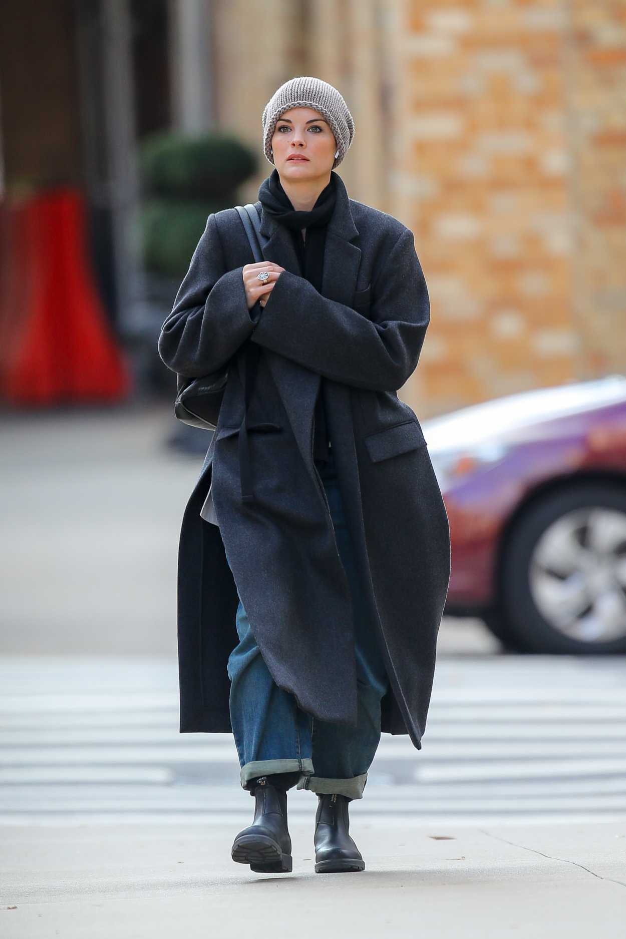 Jaimie Alexander in a Black Coat Was Seen Out in New York 11/19/2019