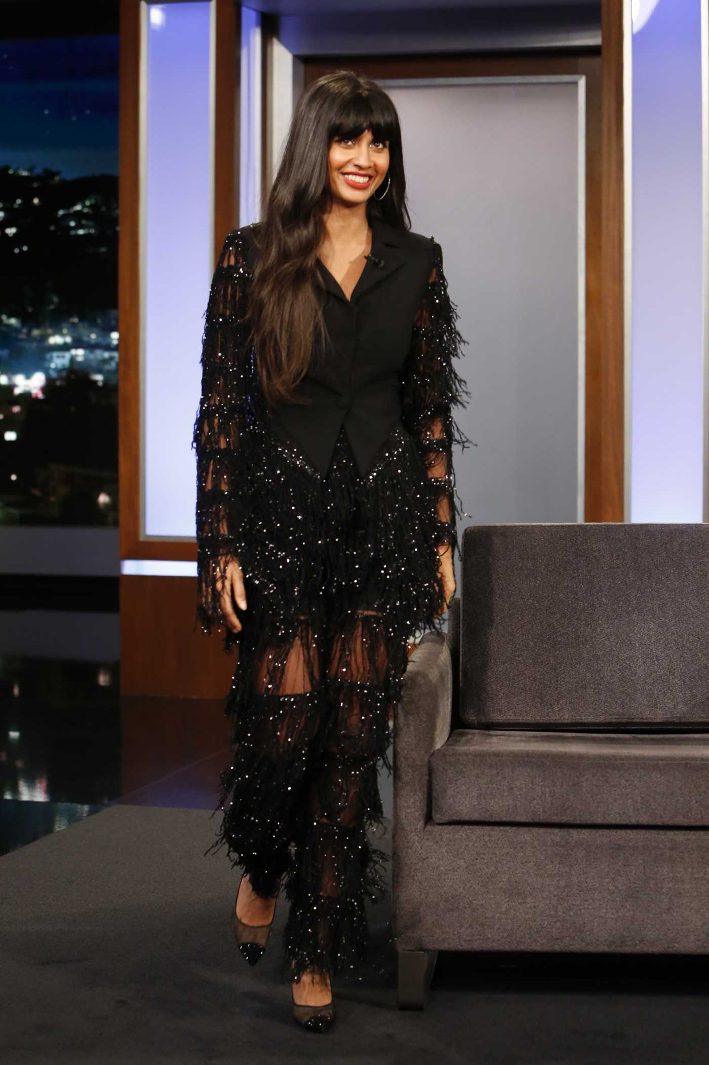 Jameela Jamil Attends Jimmy Kimmel Live in Hollywood 11/25/2019