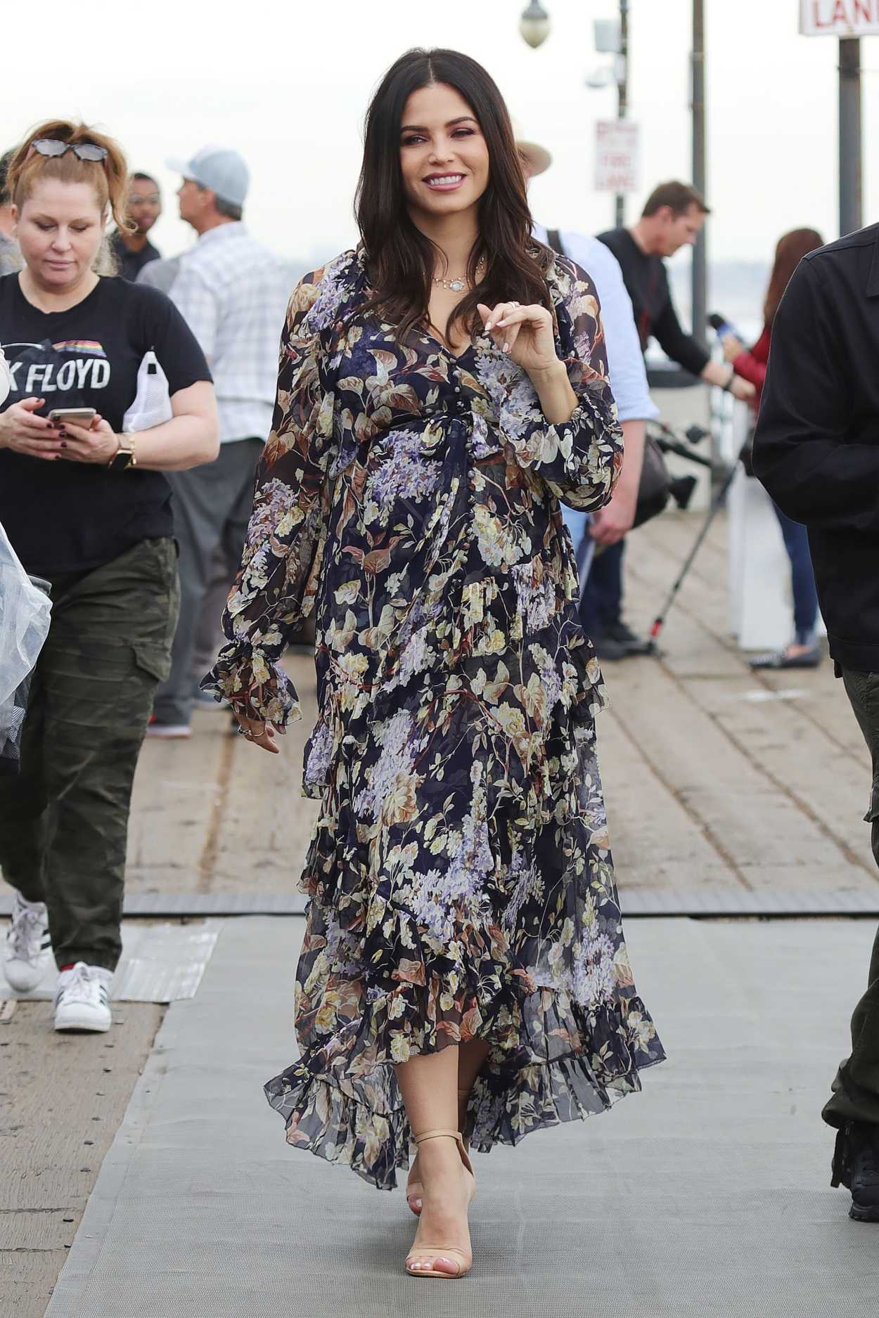 Jenna Dewan in a Floral Dress on the Set of Flirty Dancing in Santa Monica 11/19/2019