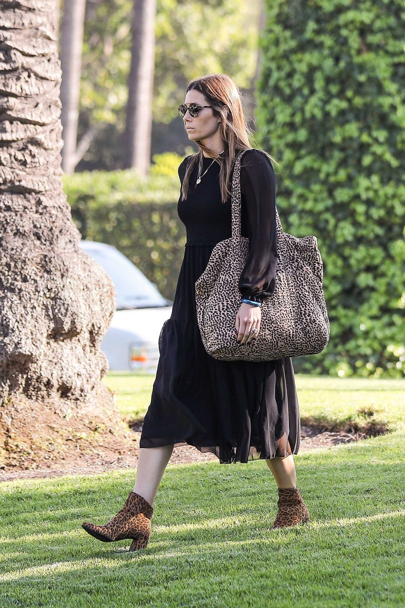 Jessica Biel in a Black Dress Out for a Business Meeting in Beverly Hills 11/07/2019