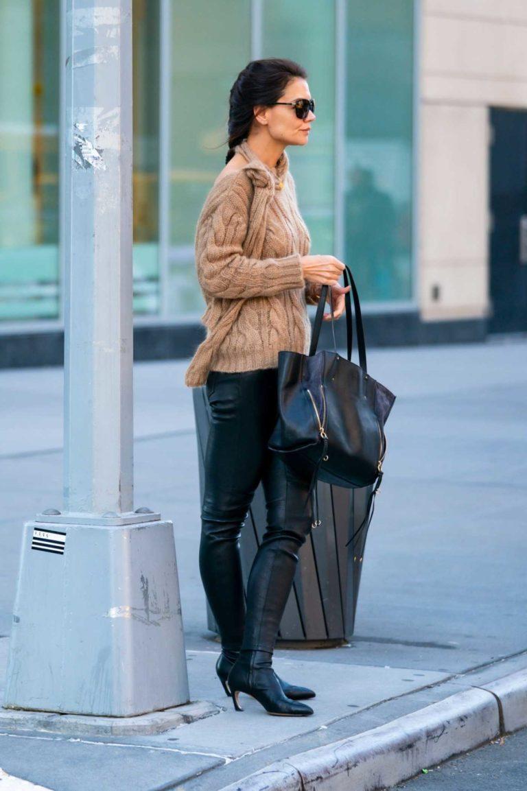 Katie Holmes in a Beige Sweater