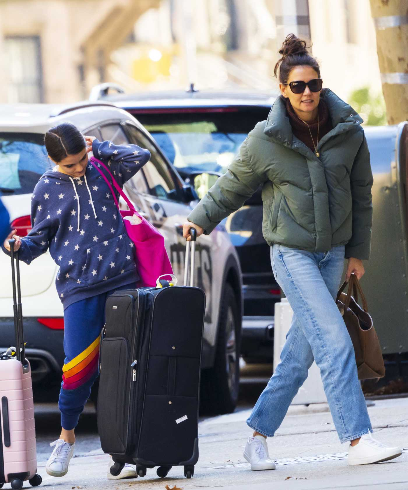 Katie Holmes in a Green Puffer Jacket Arrives at Her NYC Aapartment  Out with Suri Cruise 11/29/2019