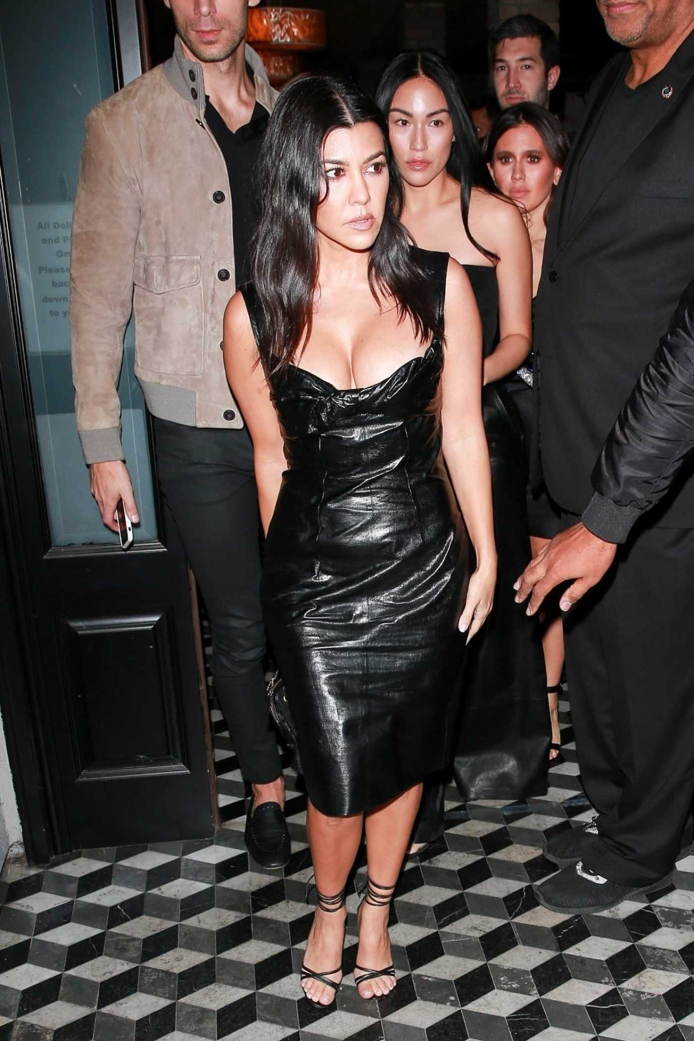 Kourtney Kardashian in a Black Dress Leaves Craig's Restaurant in West Hollywood 11/02/2019
