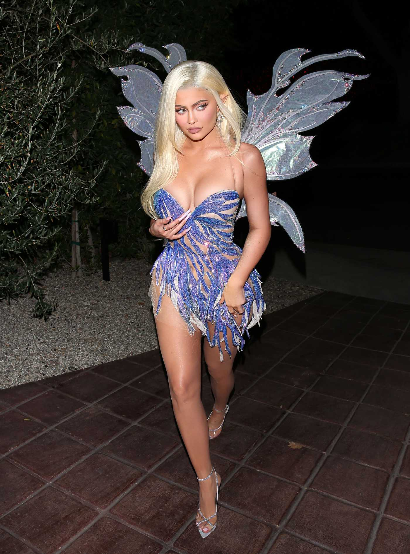 Kylie Jenner in a Princess with Wings Suit Arrives for Kendal Jenner's Birthday Halloween Bash in West Hollywood 11/01/2019