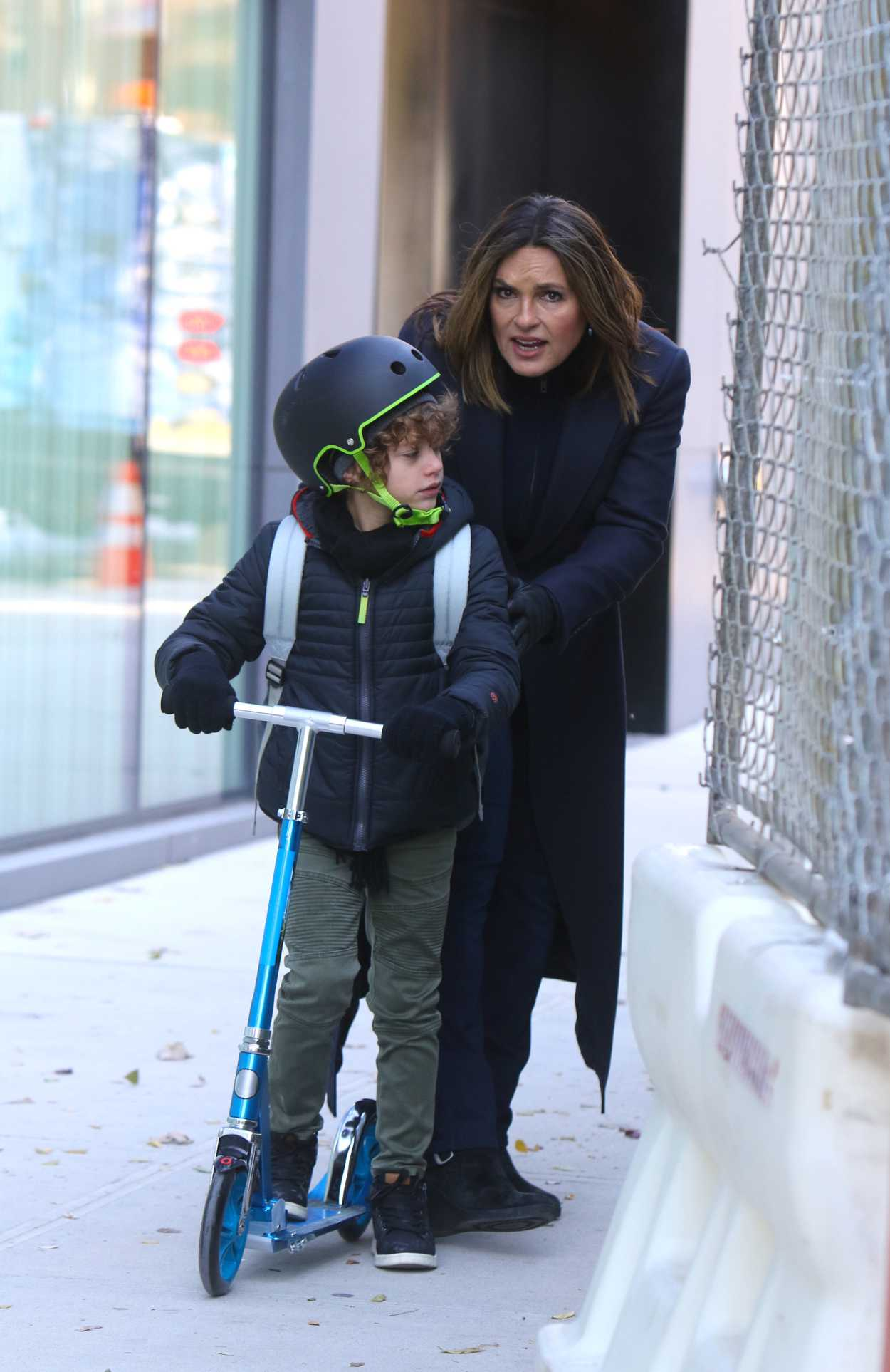 Mariska Hargitay in a Black Coat on the Set of Law and Order: Special Victims Unit in Chelsea, Manhattan 11/19/2019
