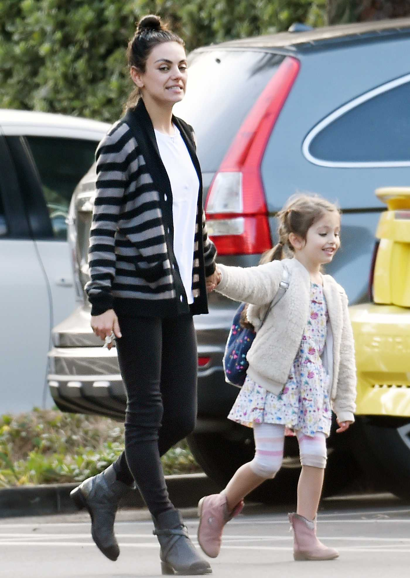 Mila Kunis in a Striped Cardigan Was Seen Out with Her Daughter Wyatt in Beverly Hills 11/06/2019