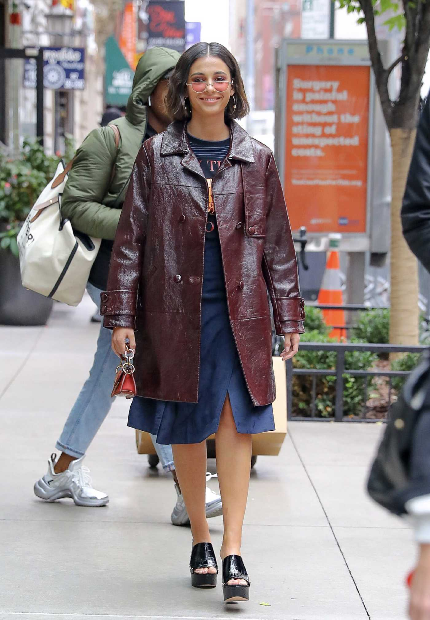 Naomi Scott in a Brown Leather Coat Was Seen Out in New York City 11/05/2019