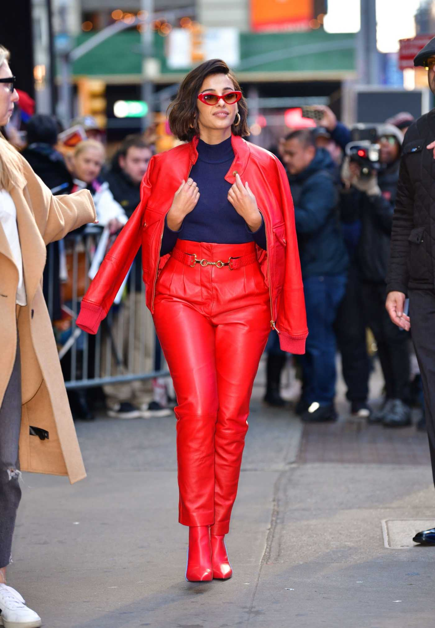 Naomi Scott in a Red Suit Leaves Good Morning America in New York City 11/06/2019