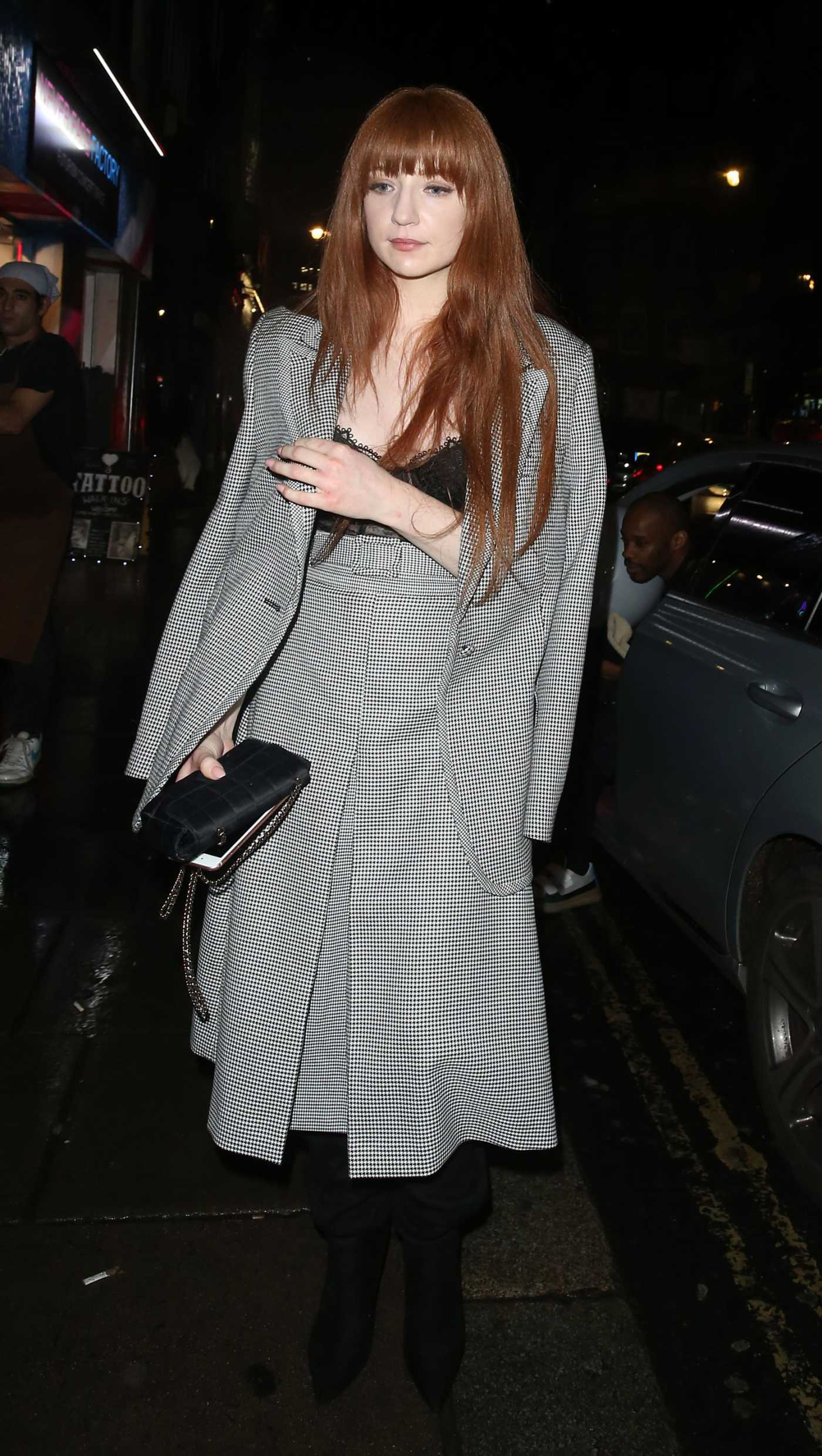 Nicola Roberts in a Gray Suit Arrives at Kimberley Walsh's Birthday Party in London 11/22/2019