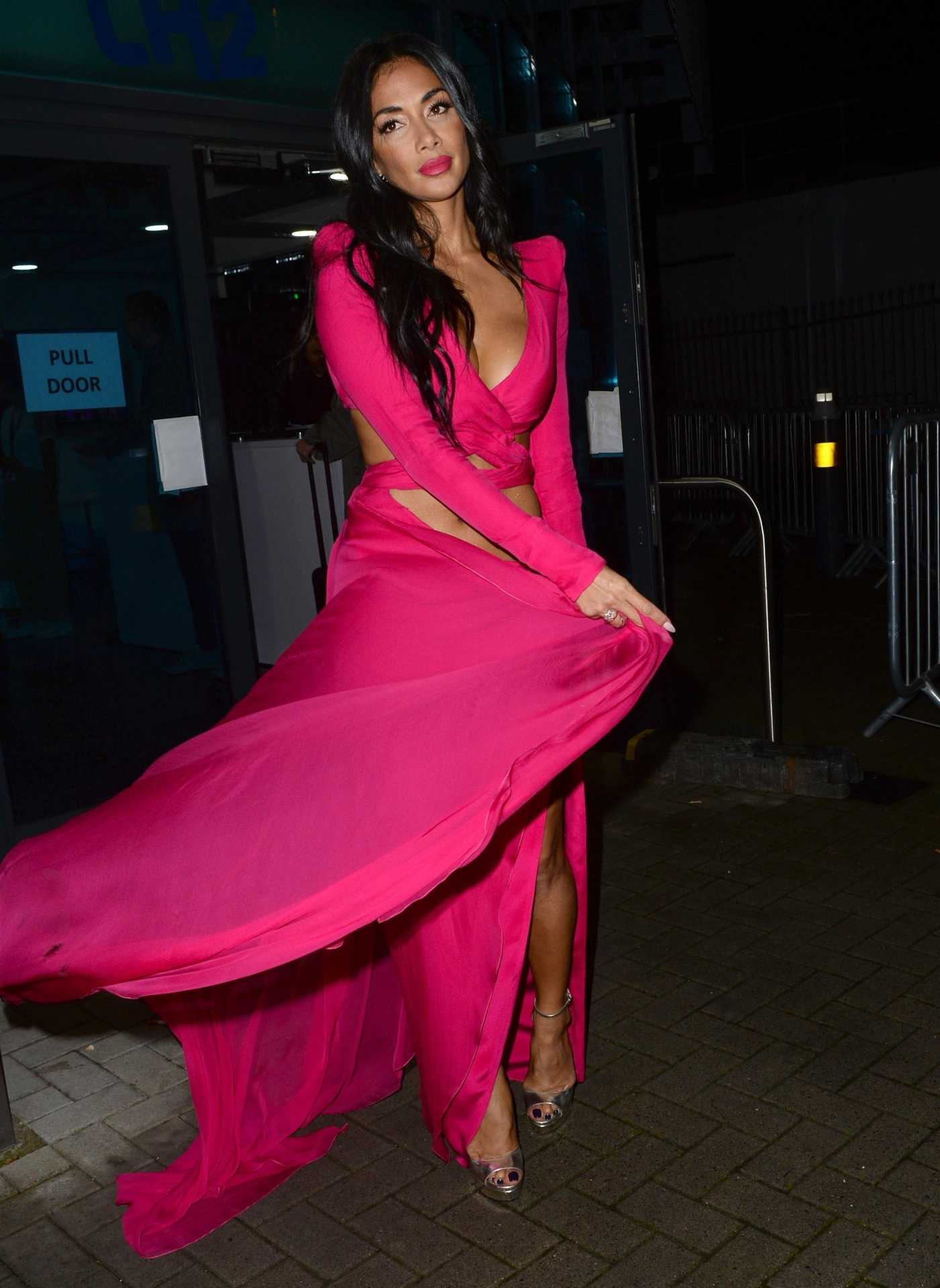Nicole Scherzinger in a Red Dress Arrives at the Celebrity X Factor Live Show in London 11/23/2019