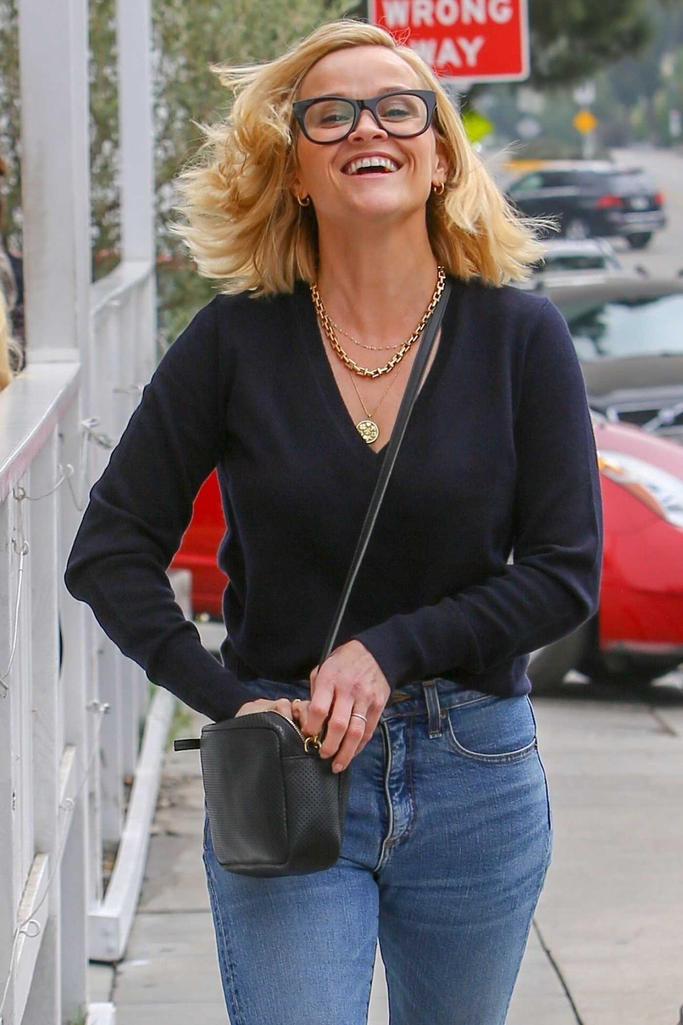 Reese Witherspoon in a White Sneakers Leaves a Business Meeting in Brentwood 11/06/2019