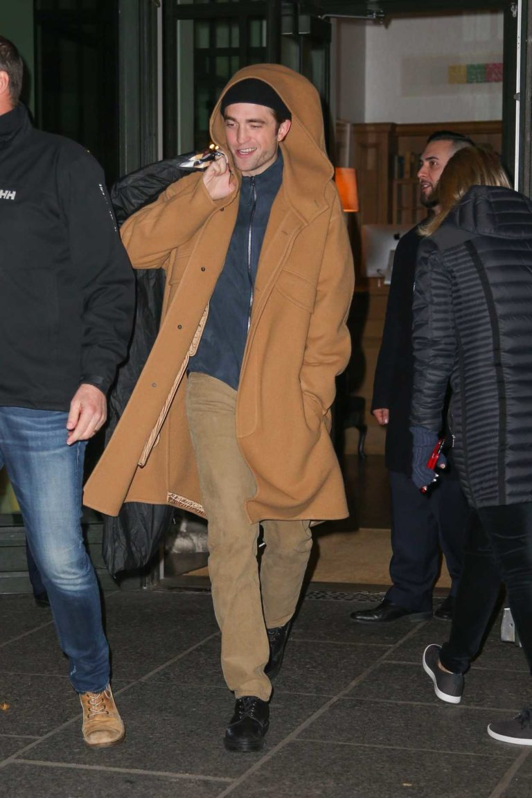 Robert Pattinson in a Beige Coat