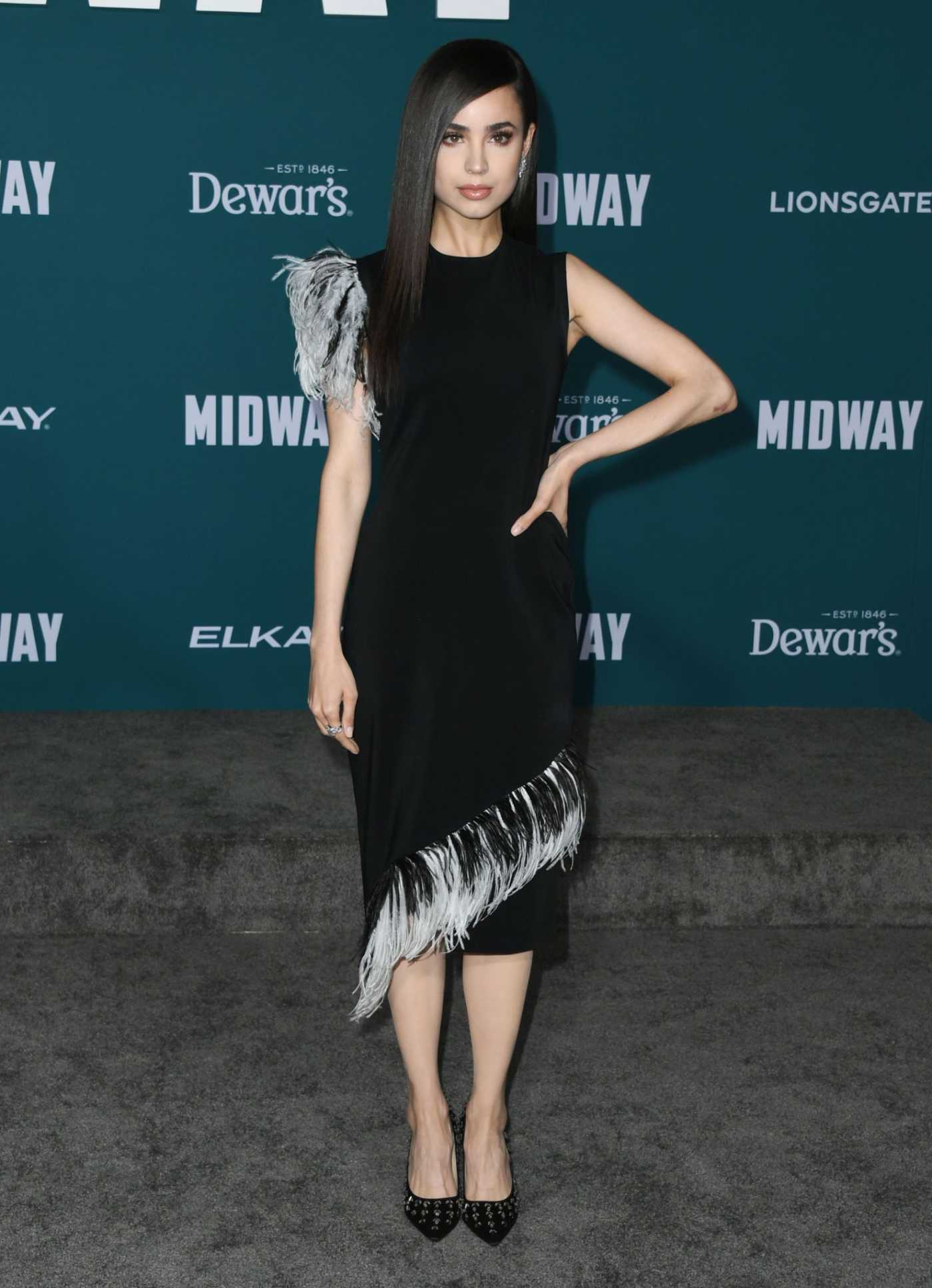 Sofia Carson Attends the Midway Premiere at Regency Village Theatre in Westwood 11/05/2019