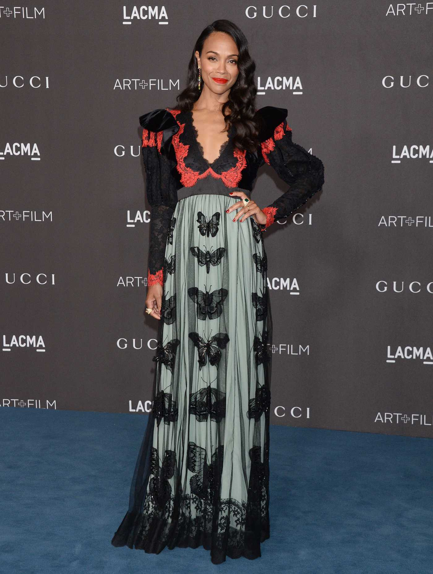 Zoe Saldana Attends 2019 LACMA Art + Film Gala Honoring Betye Saar And Alfonso Cuaron Presented By Gucci in Los Angeles 11/02/2019