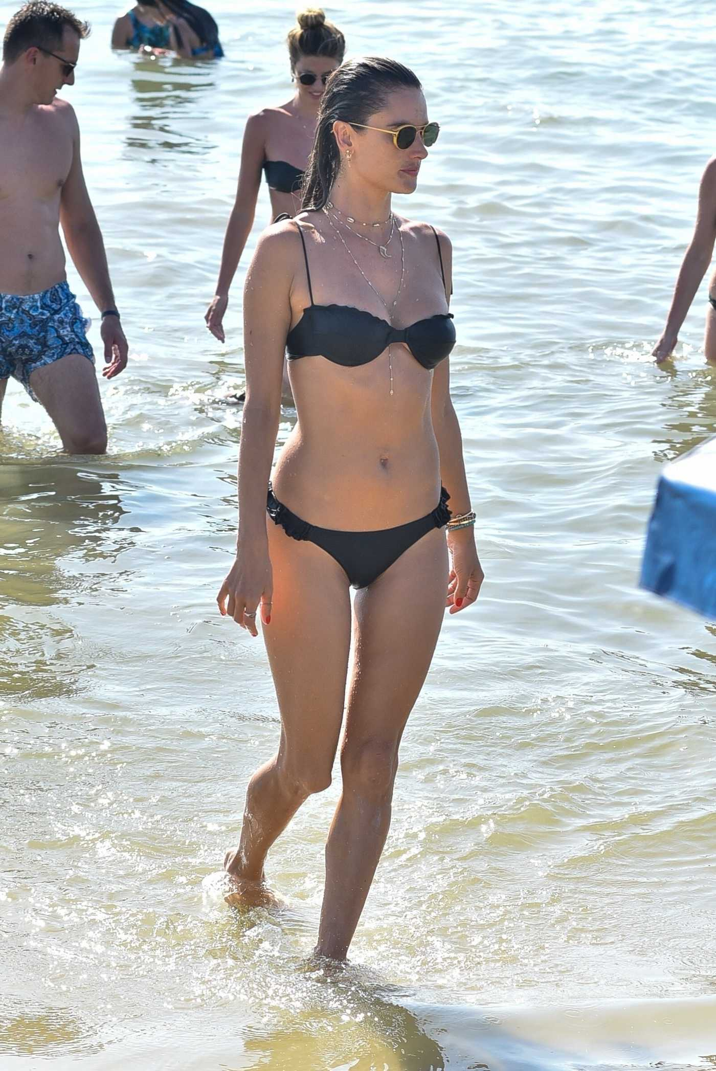 Alessandra Ambrosio in a Black Bikini on the Beach in Florianopolis 12/28/2019