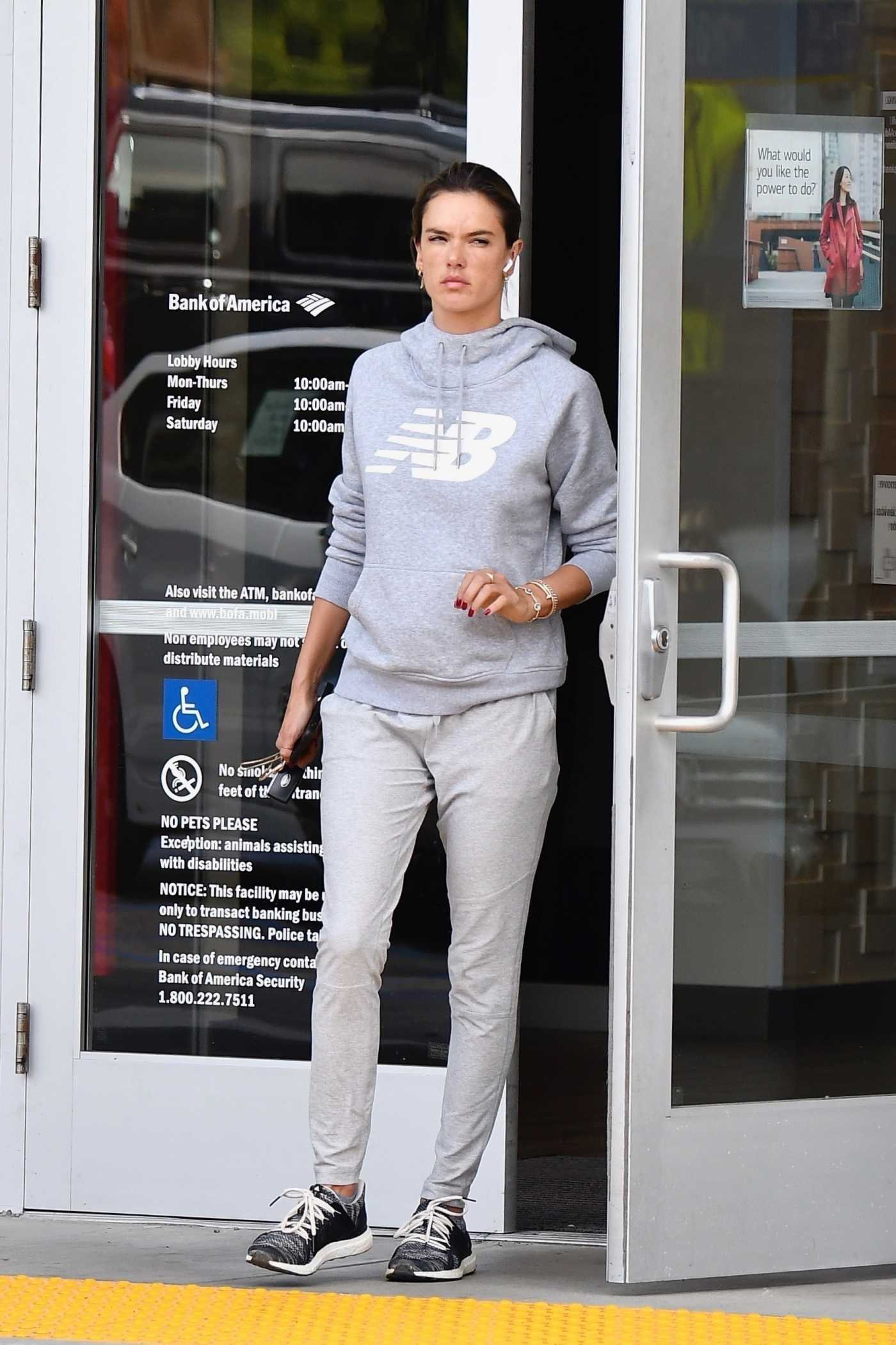 Alessandra Ambrosio in a Gray Hoody Leaves Her Bank in Brentwood 12/17/2019