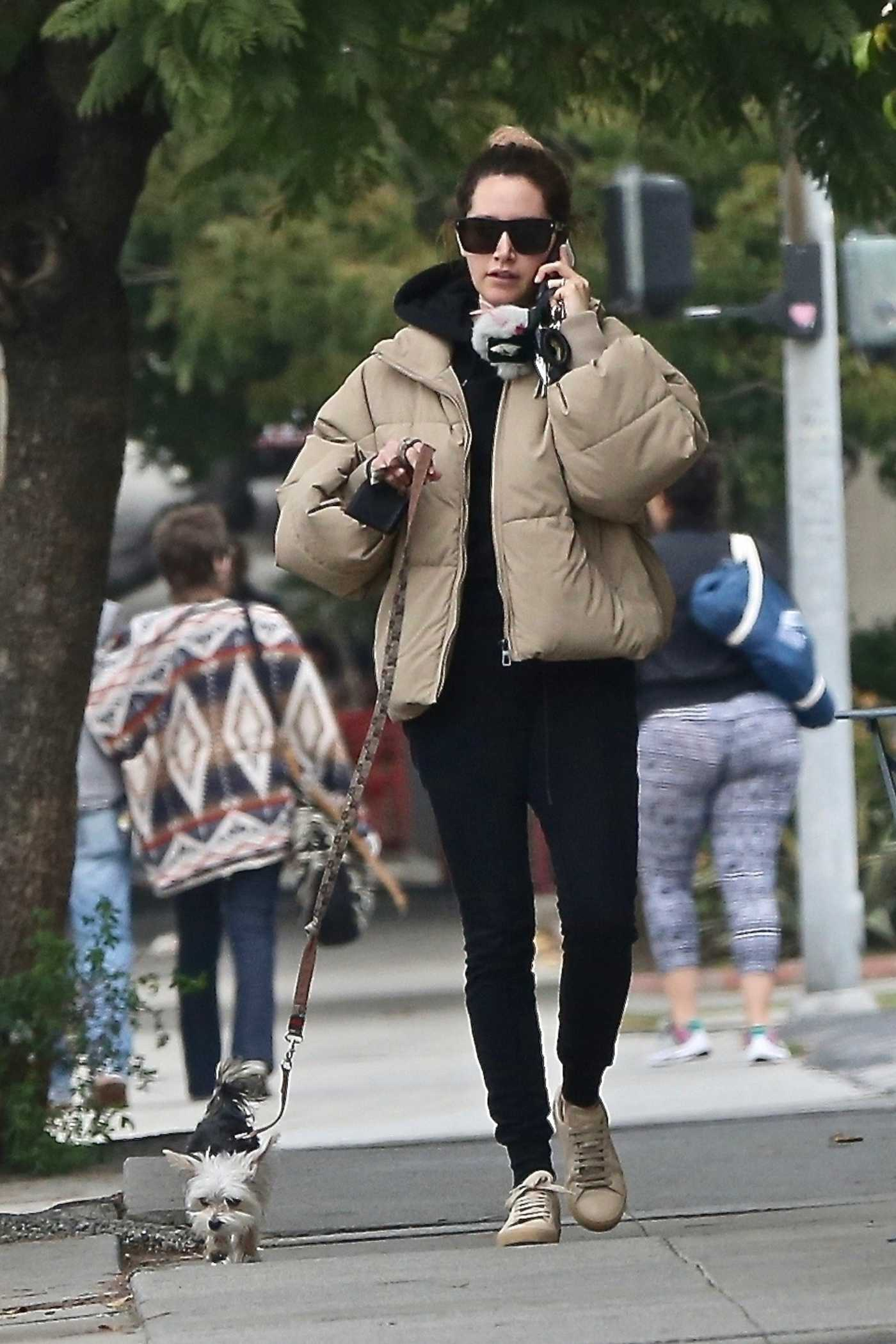 Ashley Tisdale in a Beige Puffer Jacket Walks Her Dog in Los Feliz 12/14/2019
