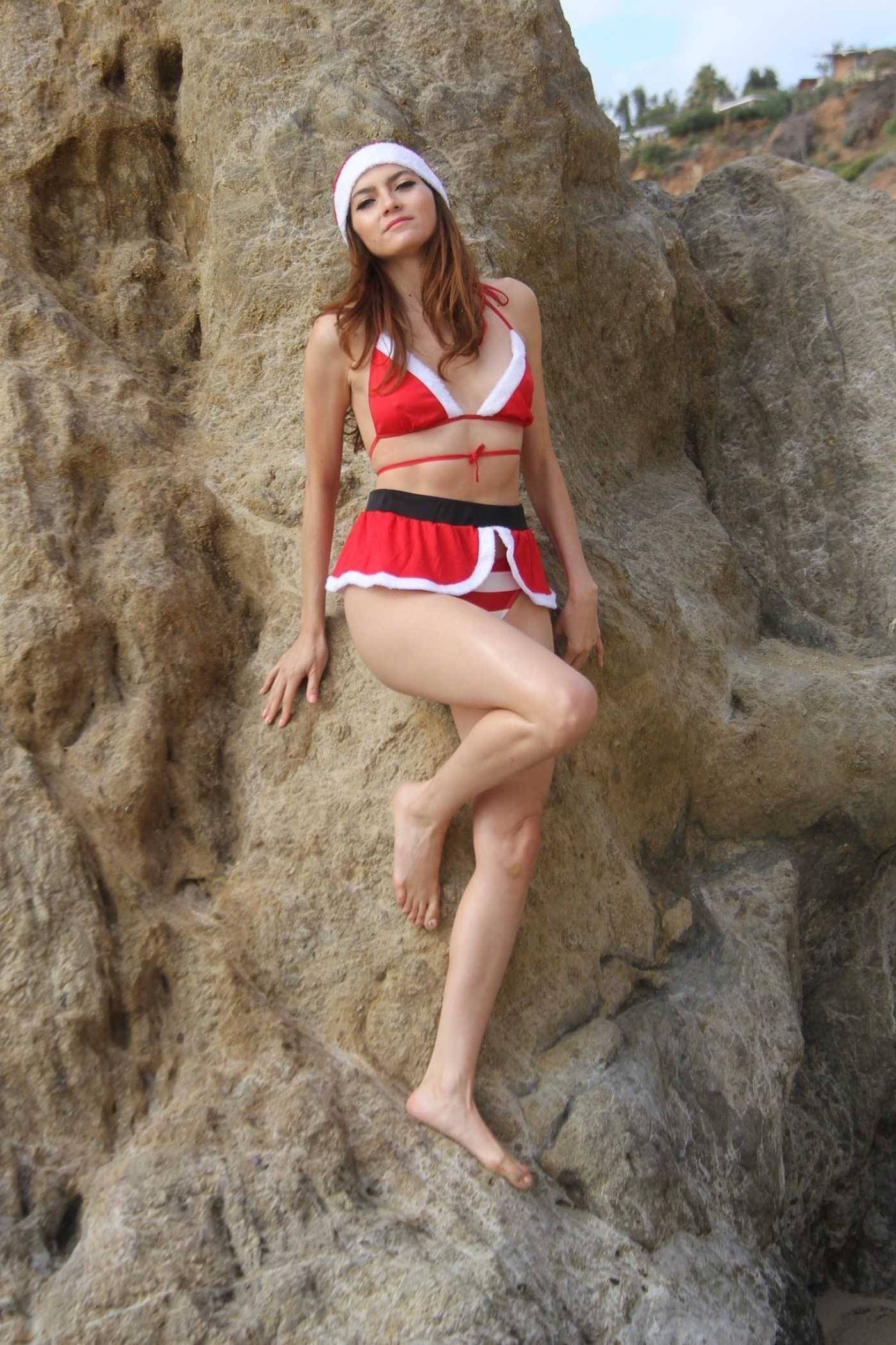 Blanca Blanco Dressed as Santa's Little Helper at the Matador State Beach in Malibu 12/20/2019