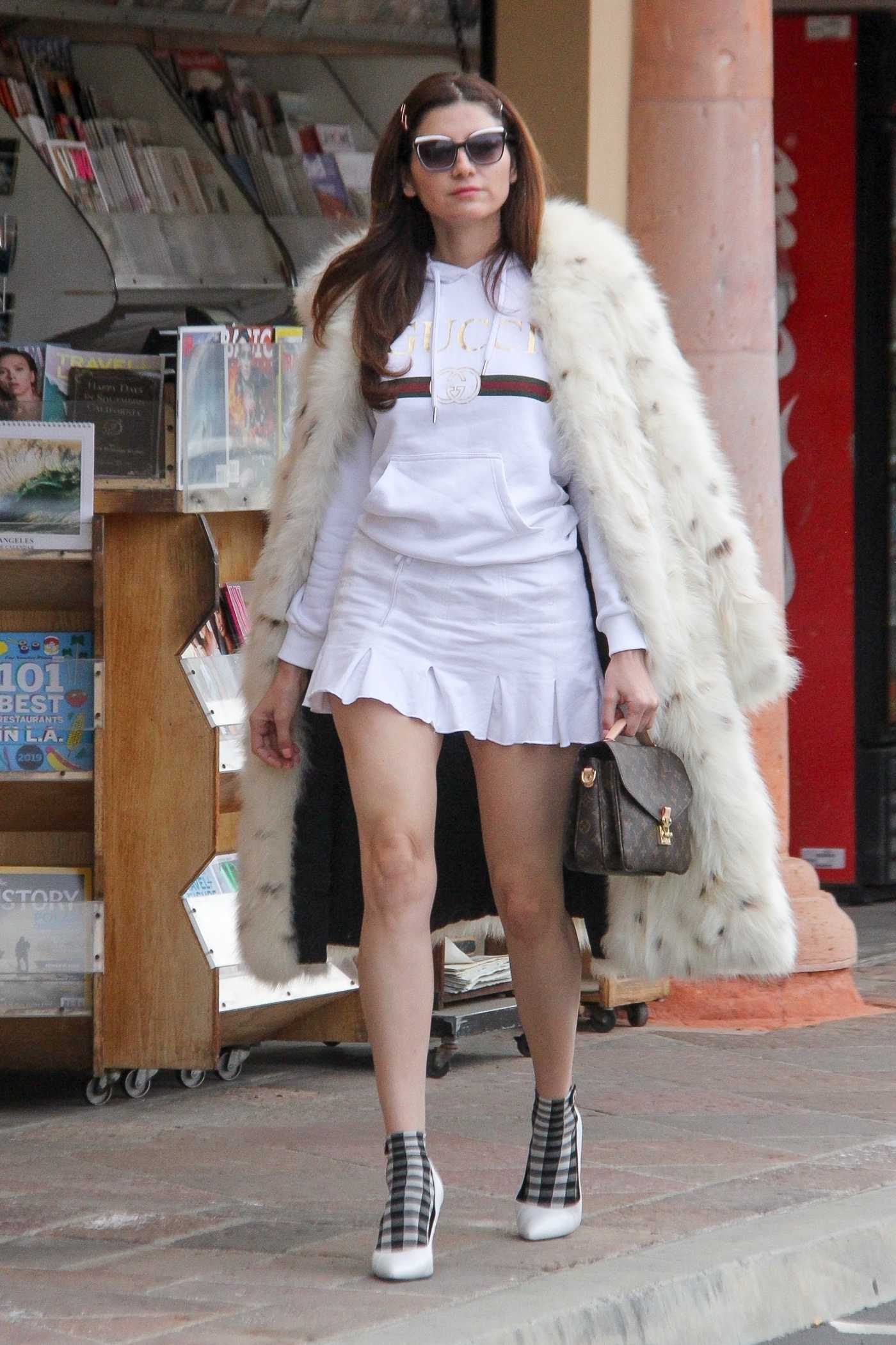 Blanca Blanco in a White Fur Coat Was Out in Malibu 12/19/2019