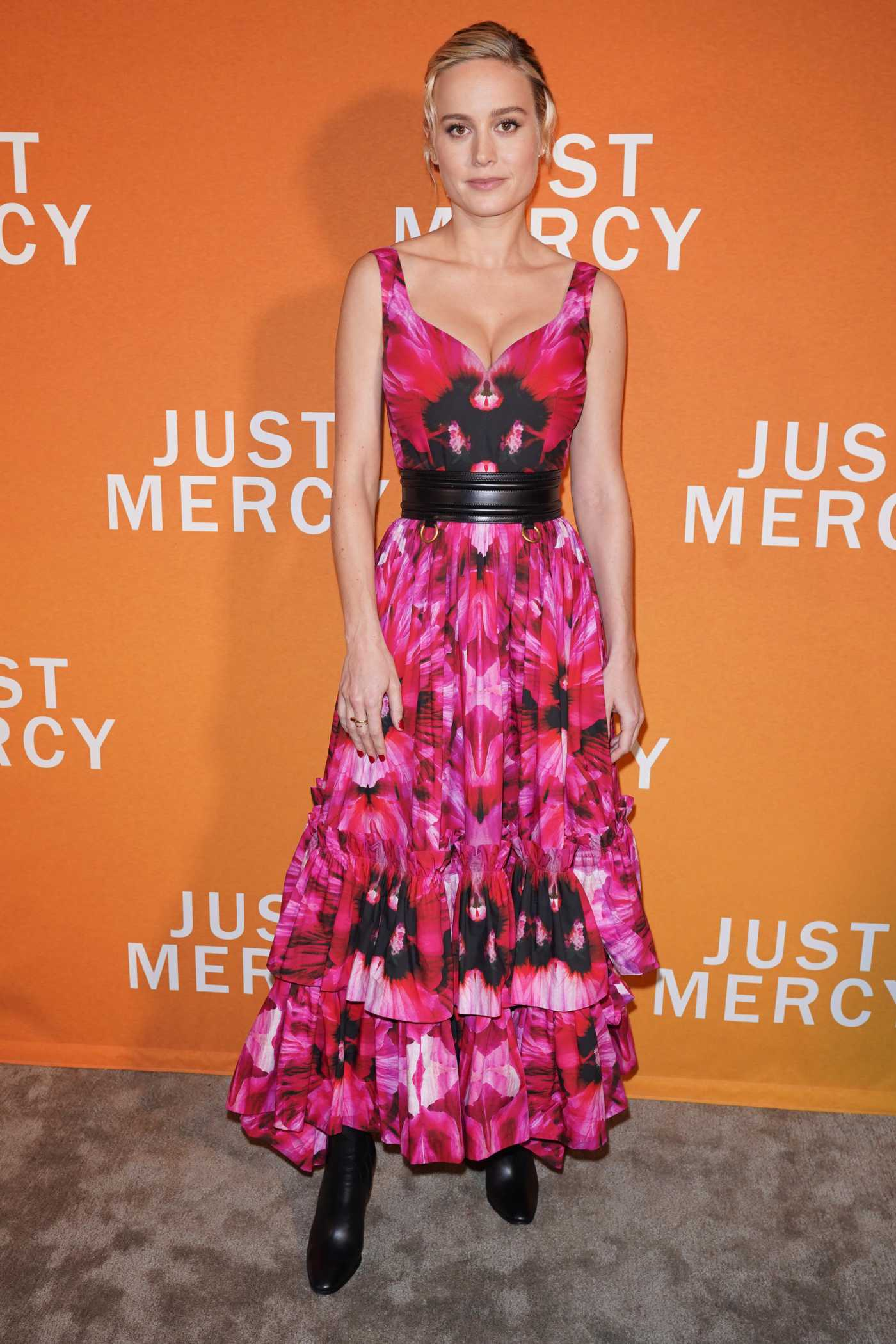 Brie Larson in a Red Floral Dress Attends Special NY Reception to Celebrate Just Mercy in New York 12/15/2019