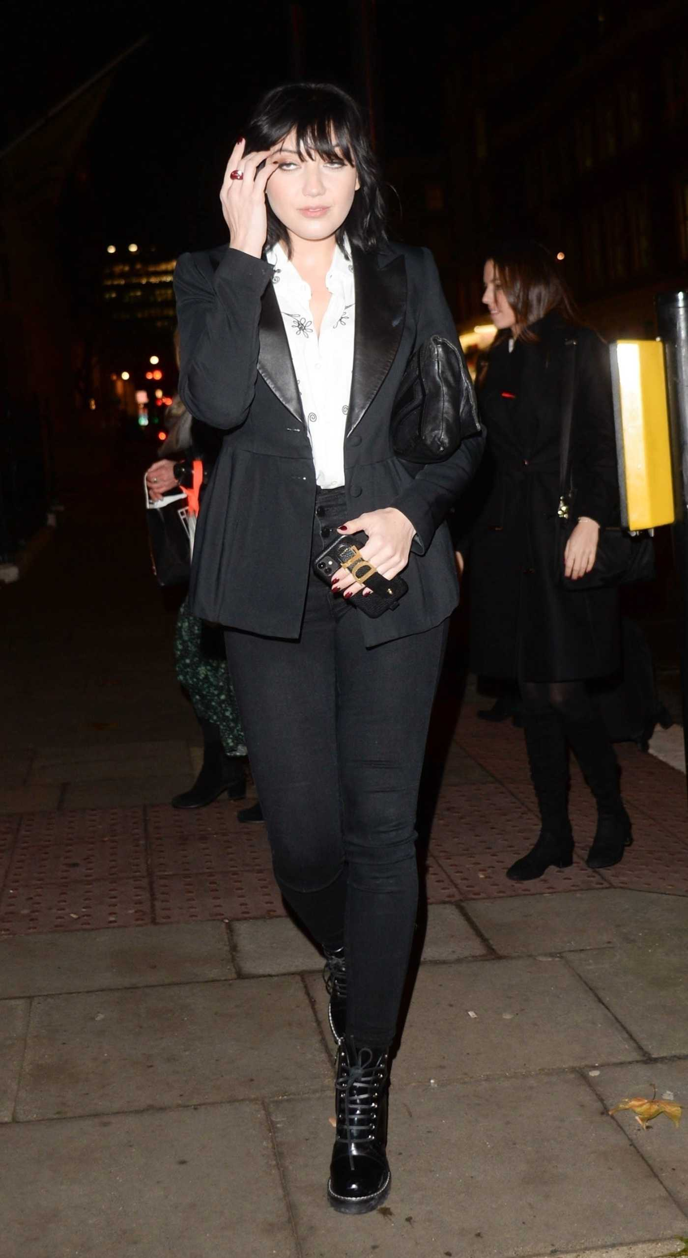 Daisy Lowe in a Black Blazer Arrives at Tanqueray No Ten Launch in London 12/05/2019