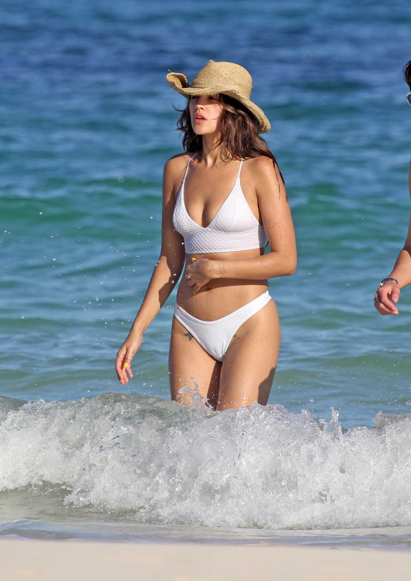 Eiza Gonzalez in a White Bikini on the Beach in Tulum 12/09/2019
