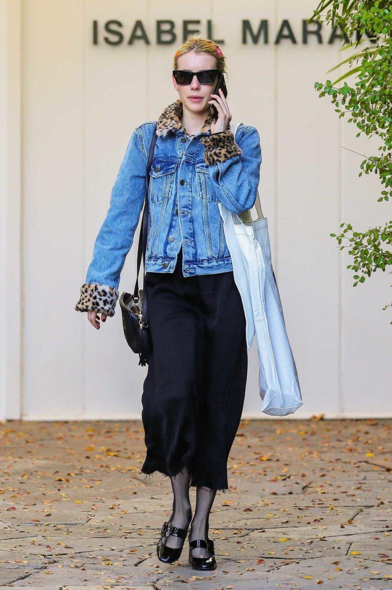 Emma Roberts in a Blue Denim Jacket