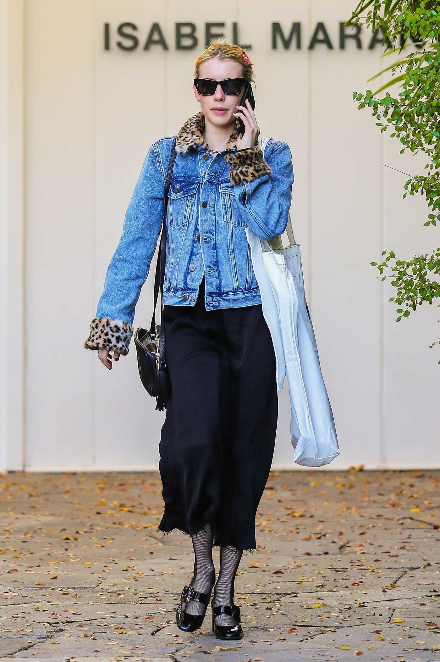 Emma Roberts in a Blue Denim Jacket Was Seen Out in Beverly Hills 12/20/2019