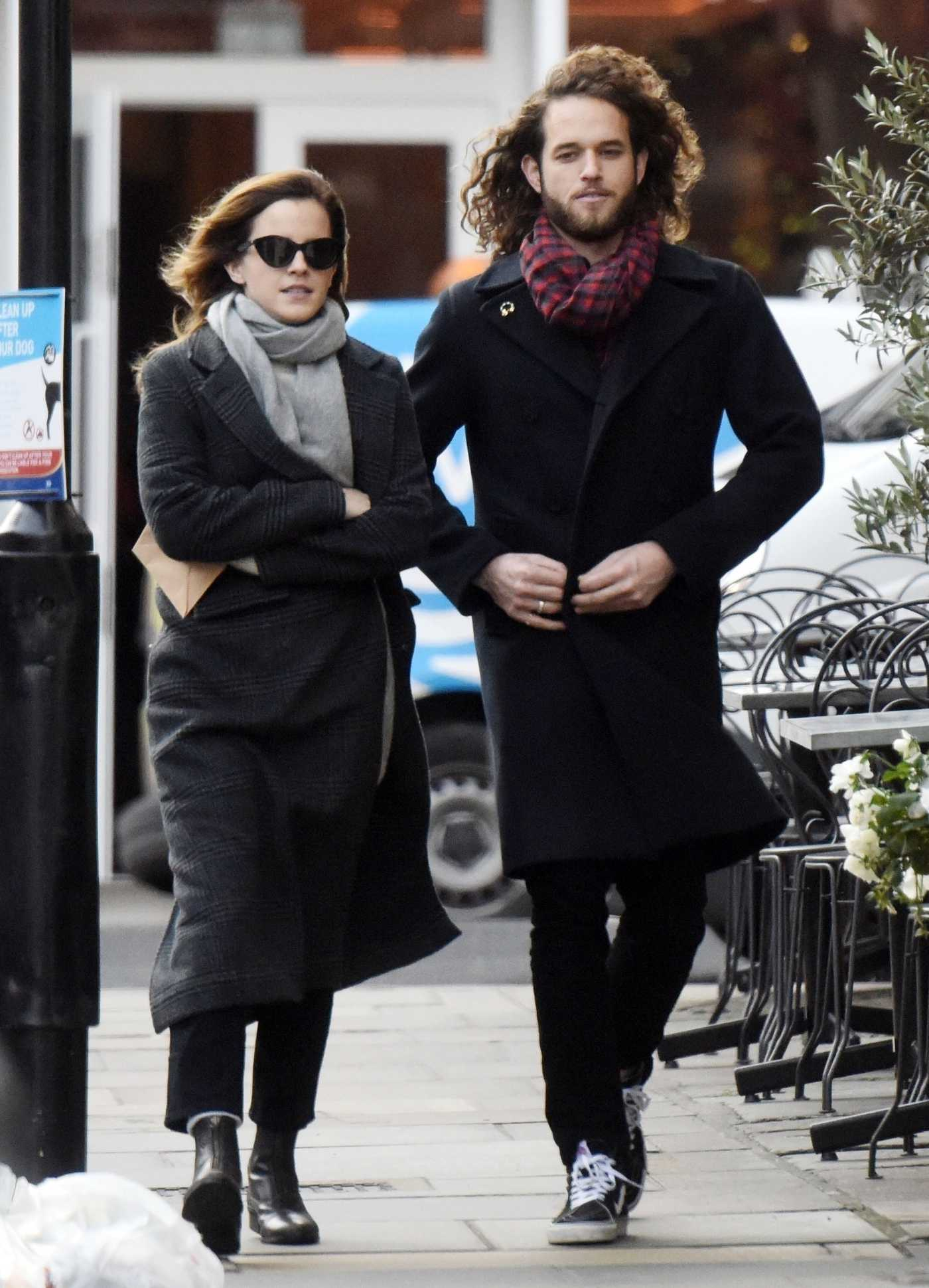 Emma Watson in a Gray Coat Was Seen Out with Her Mystery Boyfriend in London 12/18/2019