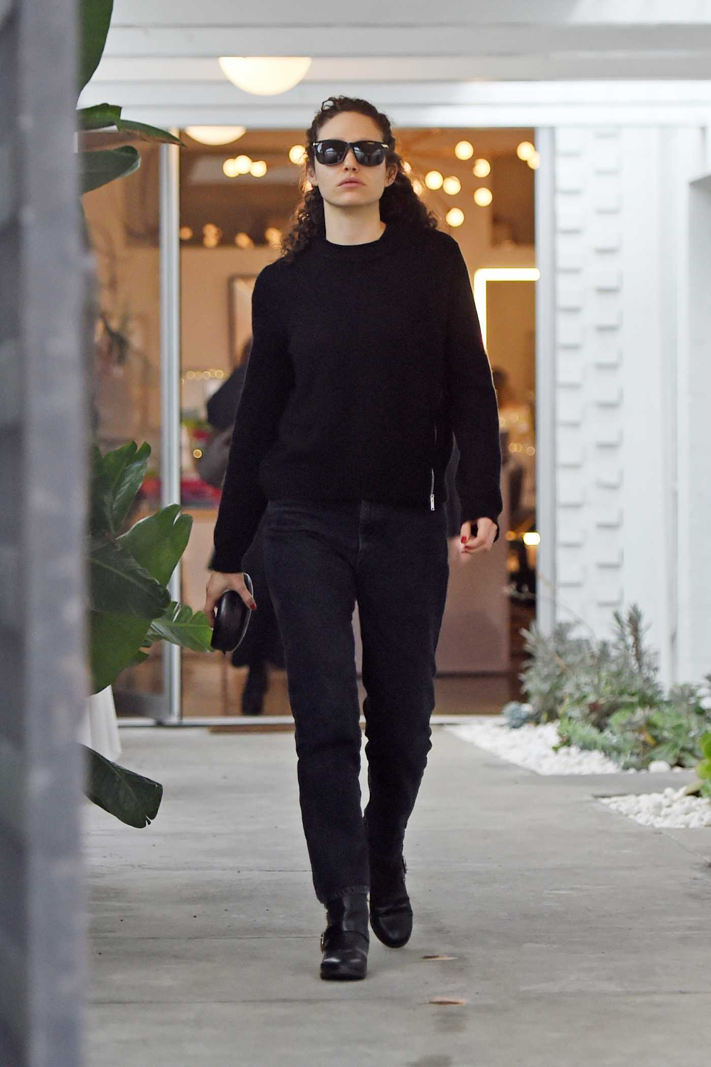 Emmy Rossum in a Black Sweater Does Some Holiday Shopping in Beverly Hills 12/14/2019